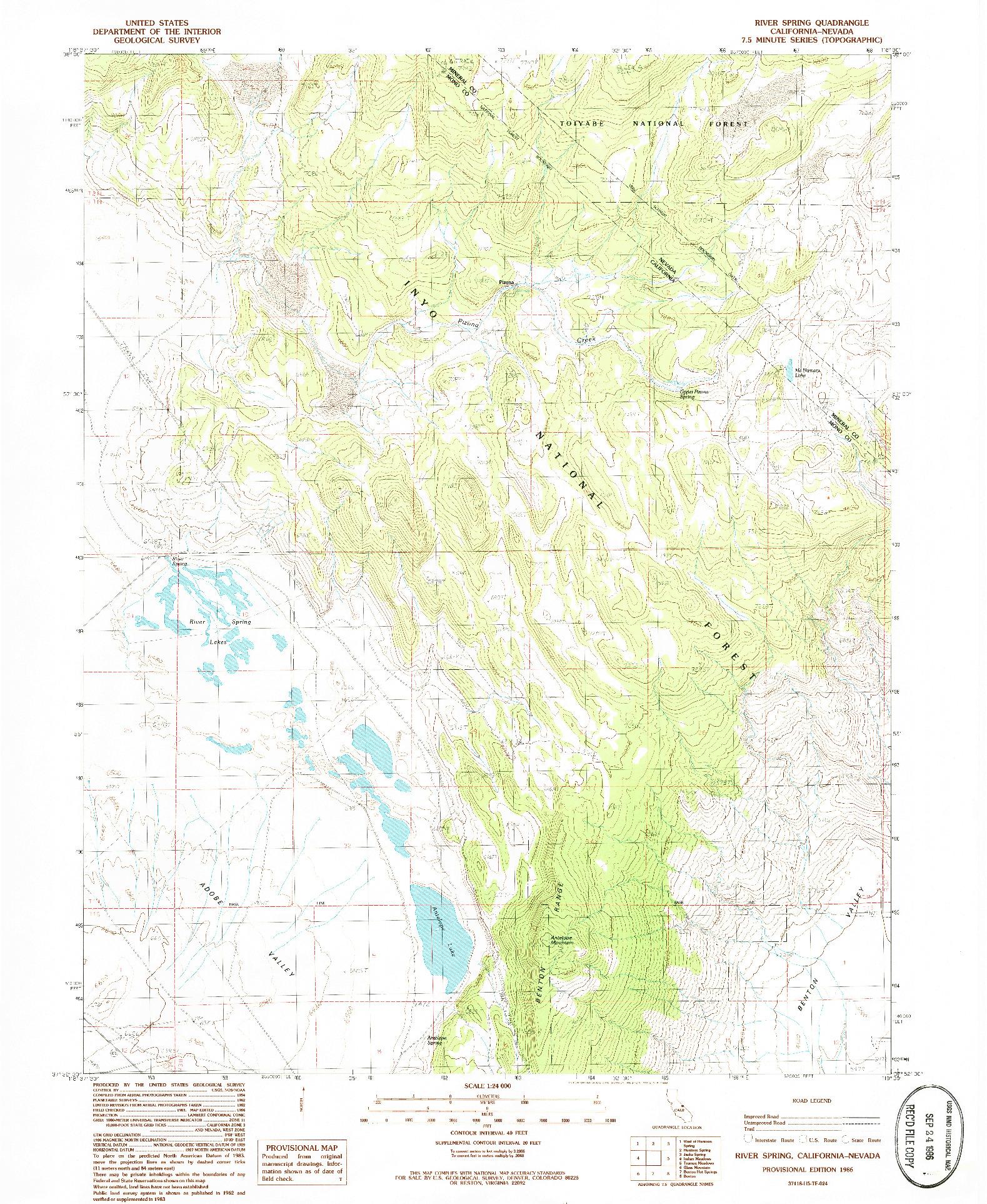USGS 1:24000-SCALE QUADRANGLE FOR RIVER SPRING, CA 1986