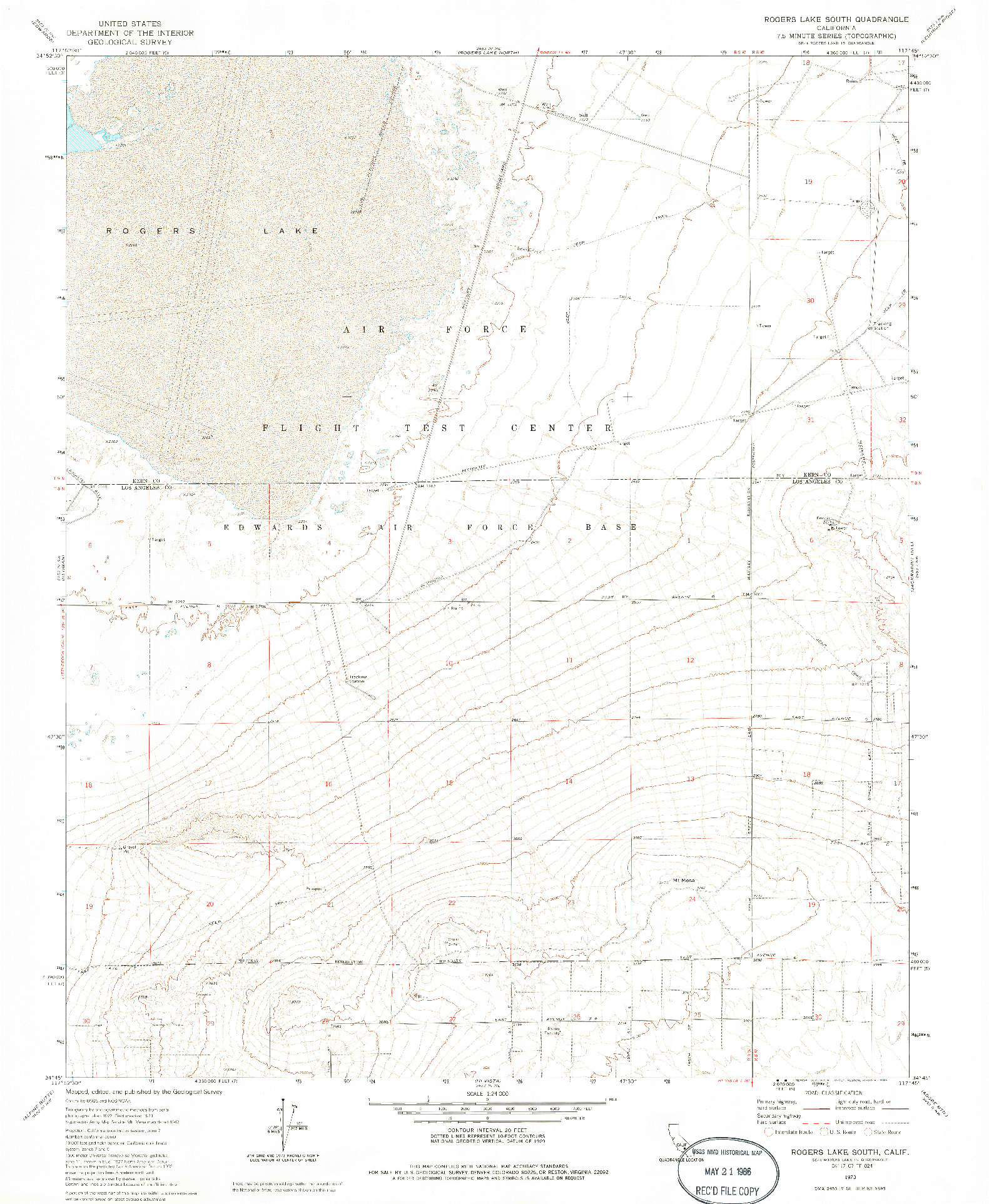 USGS 1:24000-SCALE QUADRANGLE FOR ROGERS LAKE SOUTH, CA 1973