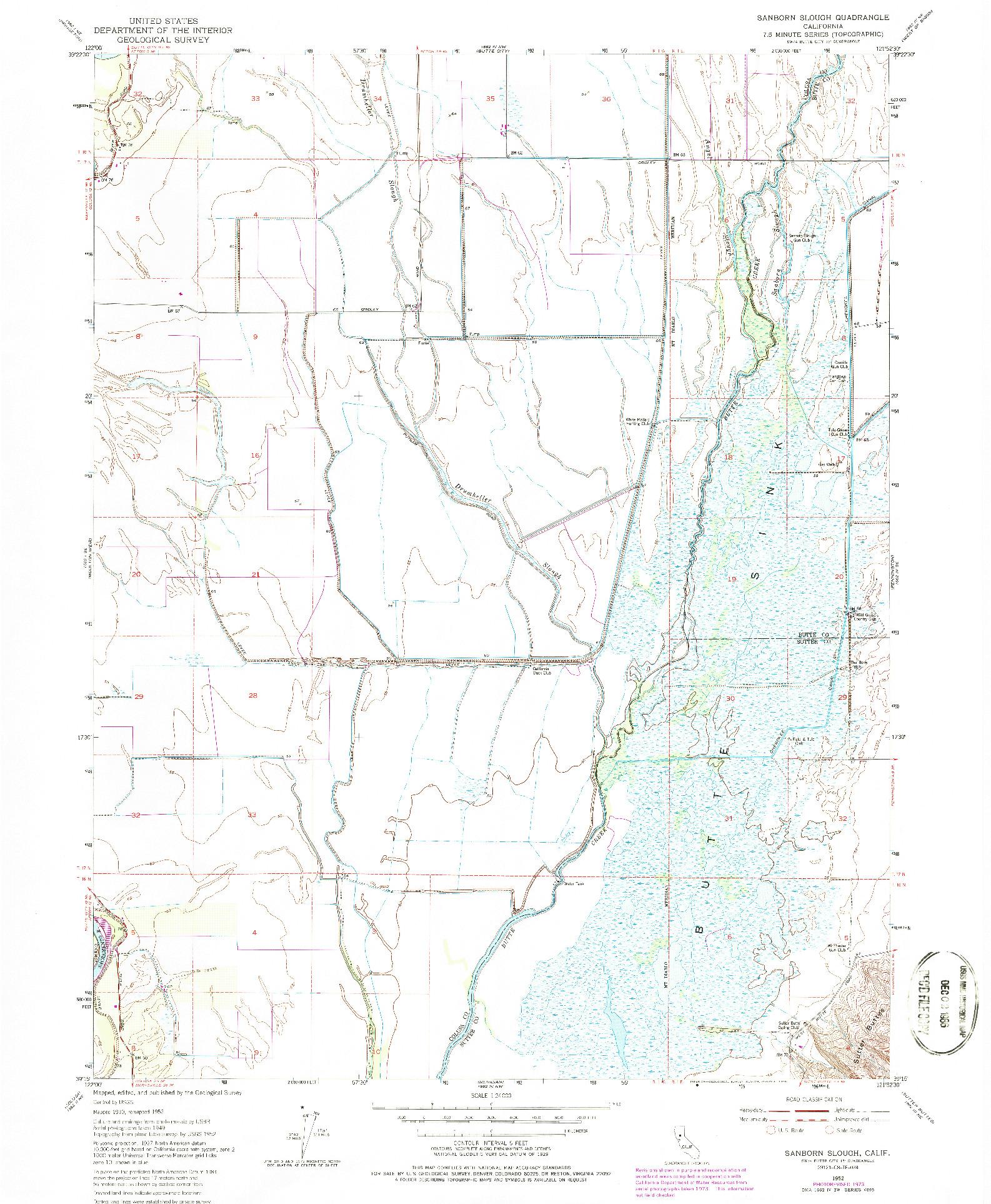 USGS 1:24000-SCALE QUADRANGLE FOR SANBORN SLOUGH, CA 1952