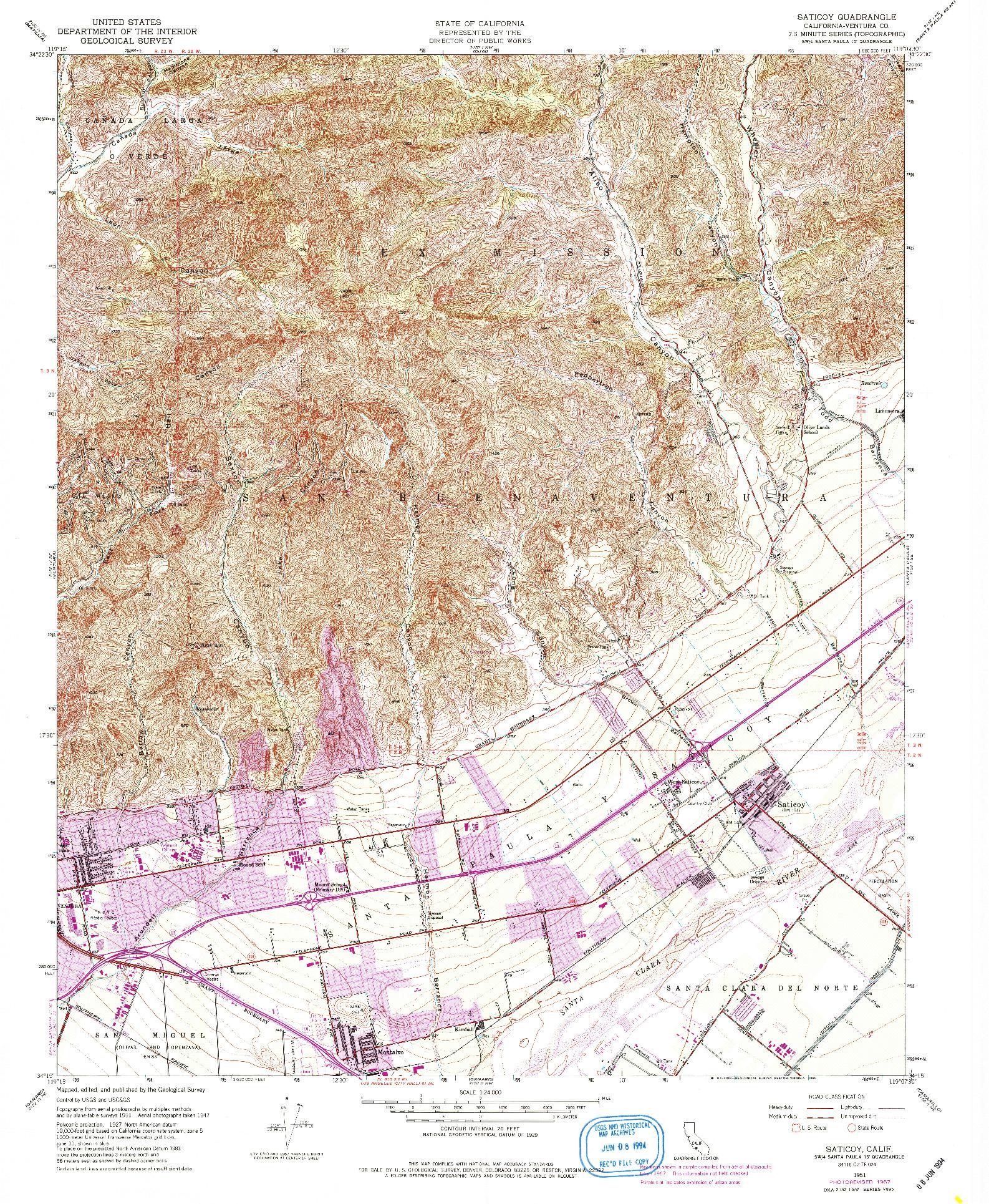USGS 1:24000-SCALE QUADRANGLE FOR SATICOY, CA 1951