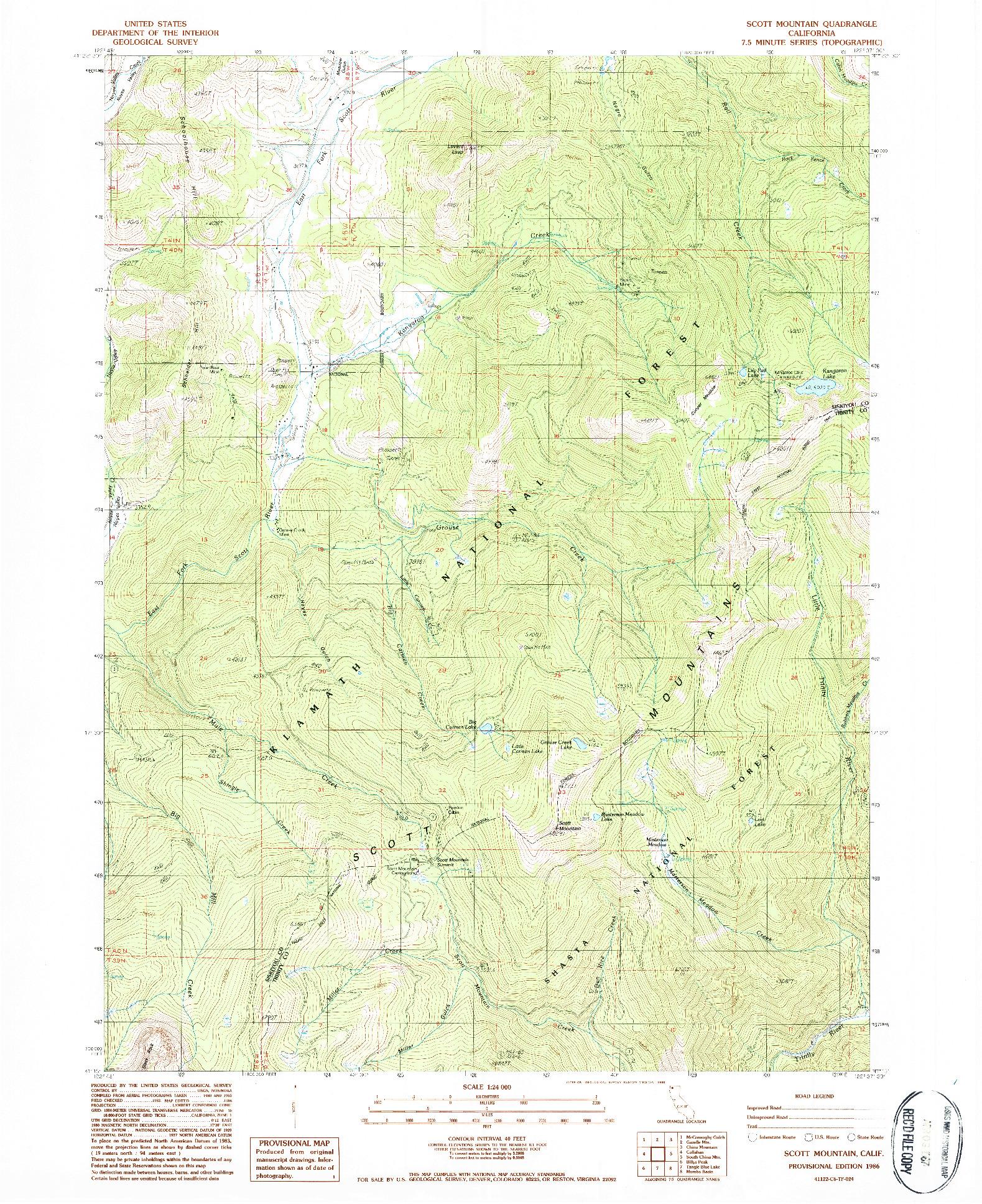 USGS 1:24000-SCALE QUADRANGLE FOR SCOTT MOUNTAIN, CA 1986