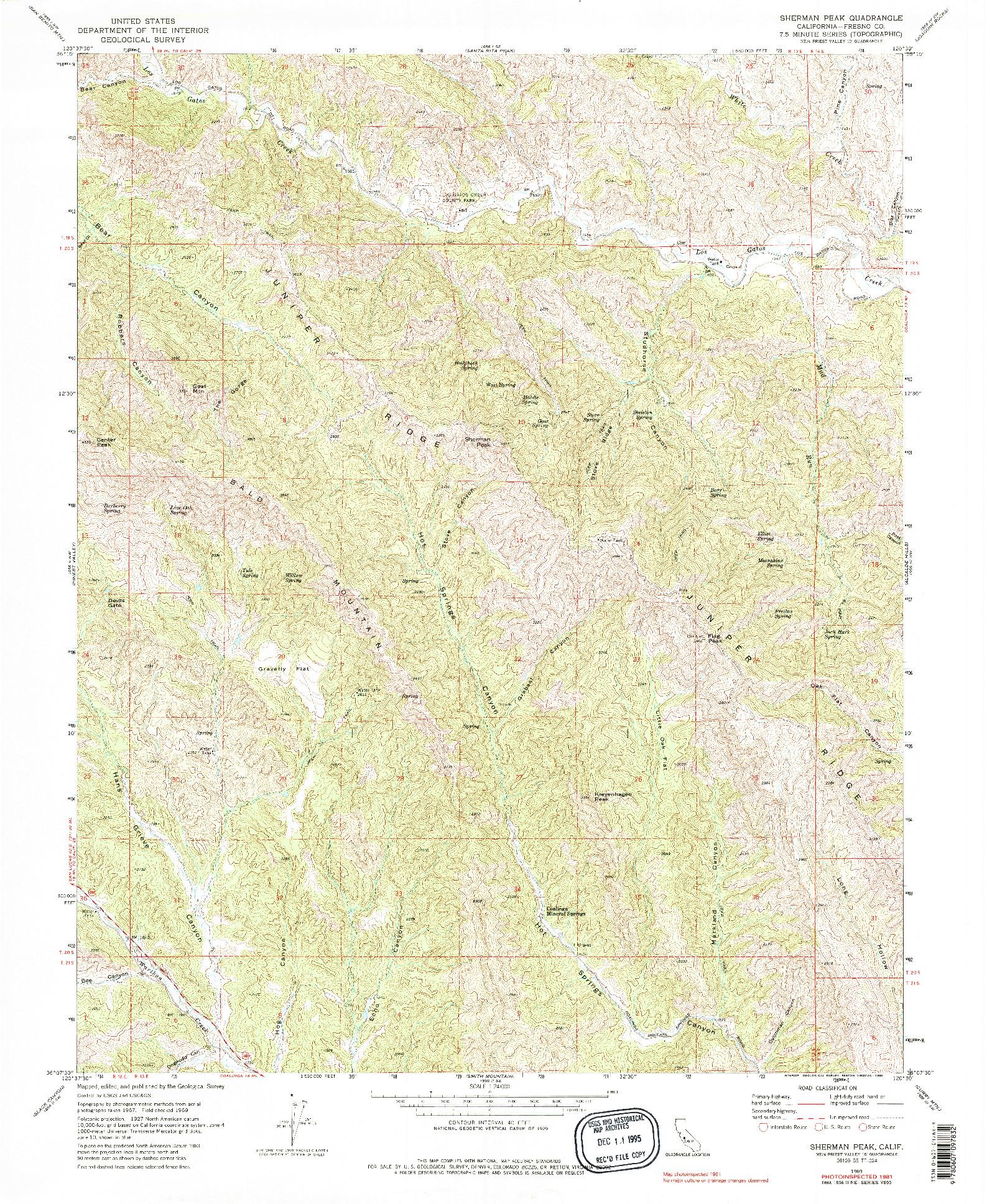 USGS 1:24000-SCALE QUADRANGLE FOR SHERMAN PEAK, CA 1969