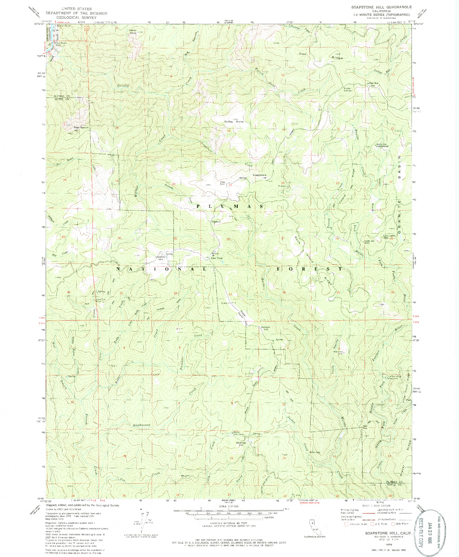 USGS 1:24000-SCALE QUADRANGLE FOR SOAPSTONE HILL, CA 1979