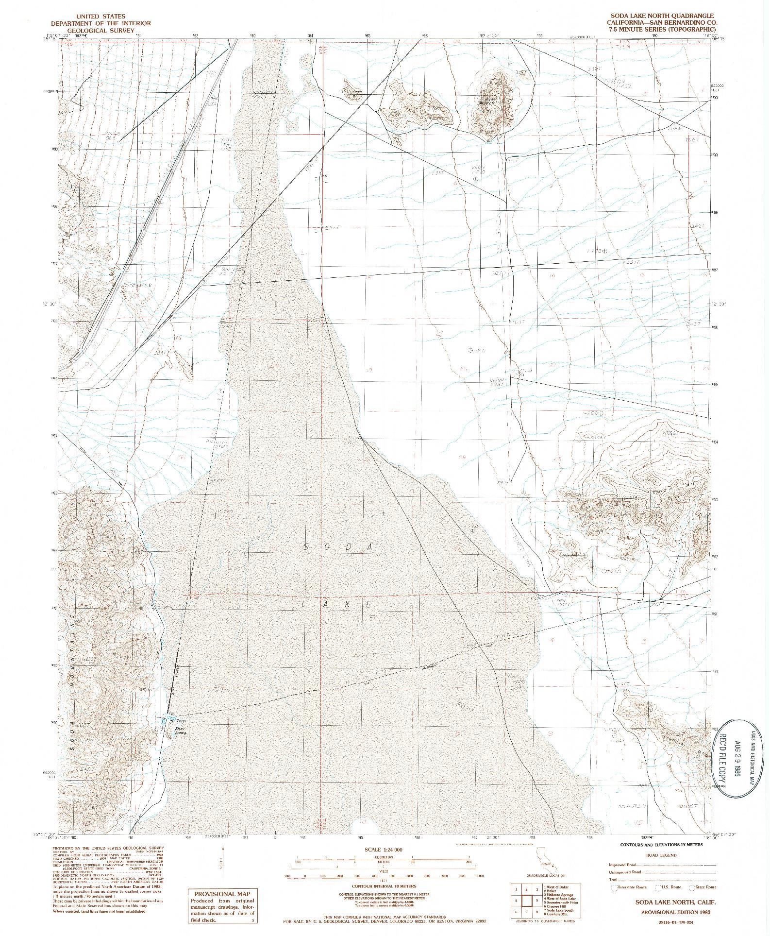 USGS 1:24000-SCALE QUADRANGLE FOR SODA LAKE NORTH, CA 1983