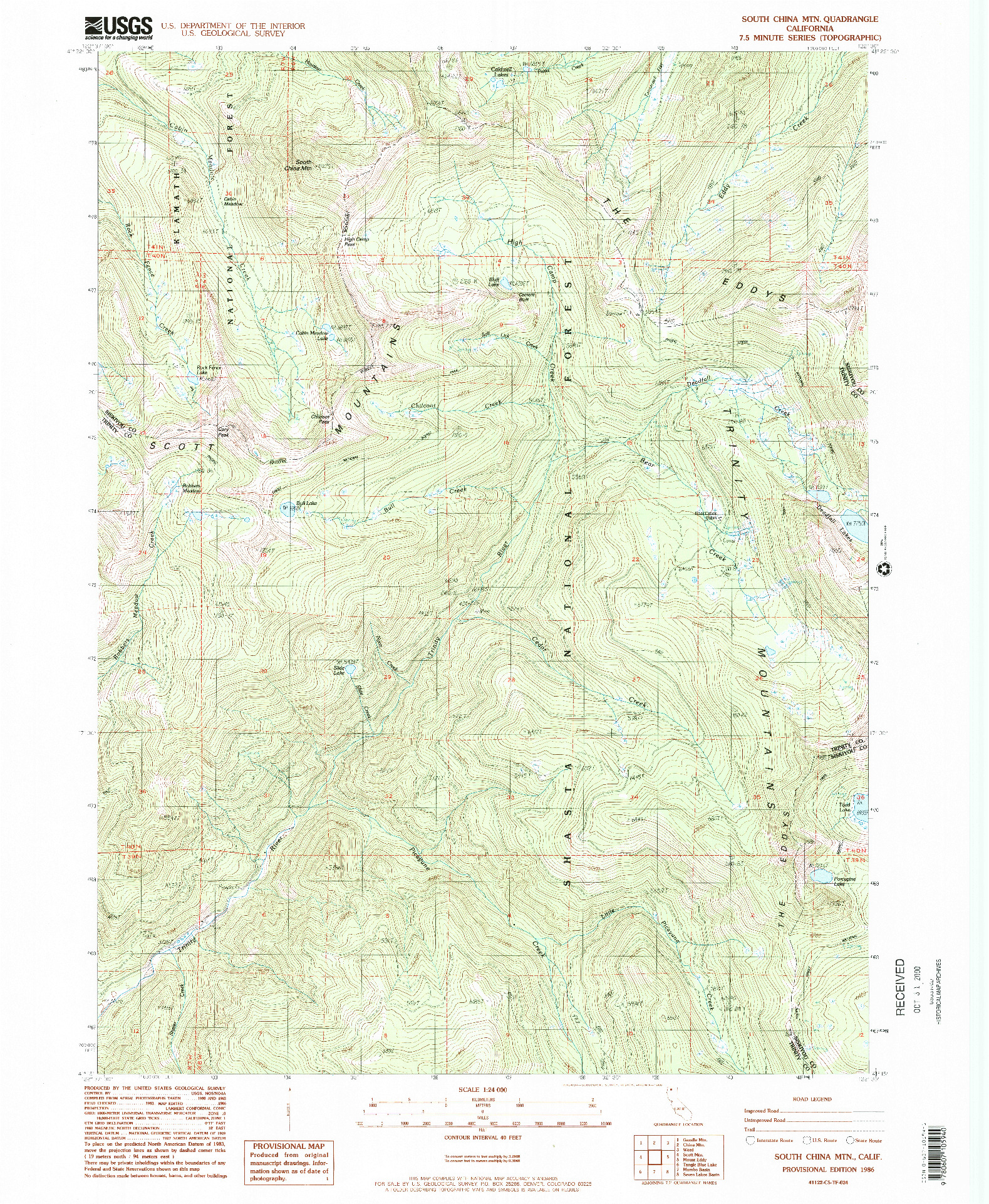 USGS 1:24000-SCALE QUADRANGLE FOR SOUTH CHINA MTN., CA 1986