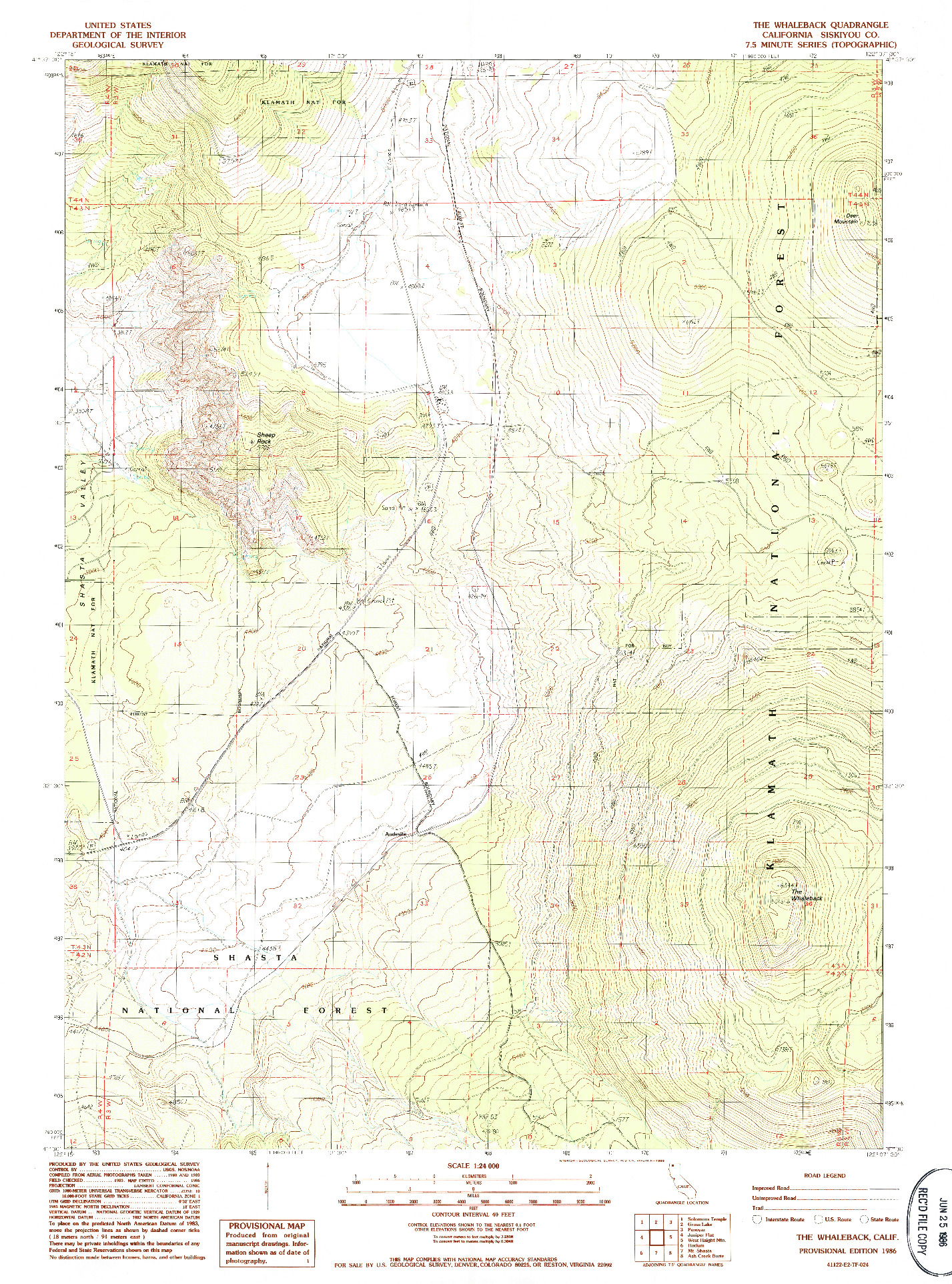 USGS 1:24000-SCALE QUADRANGLE FOR THE WHALEBACK, CA 1986