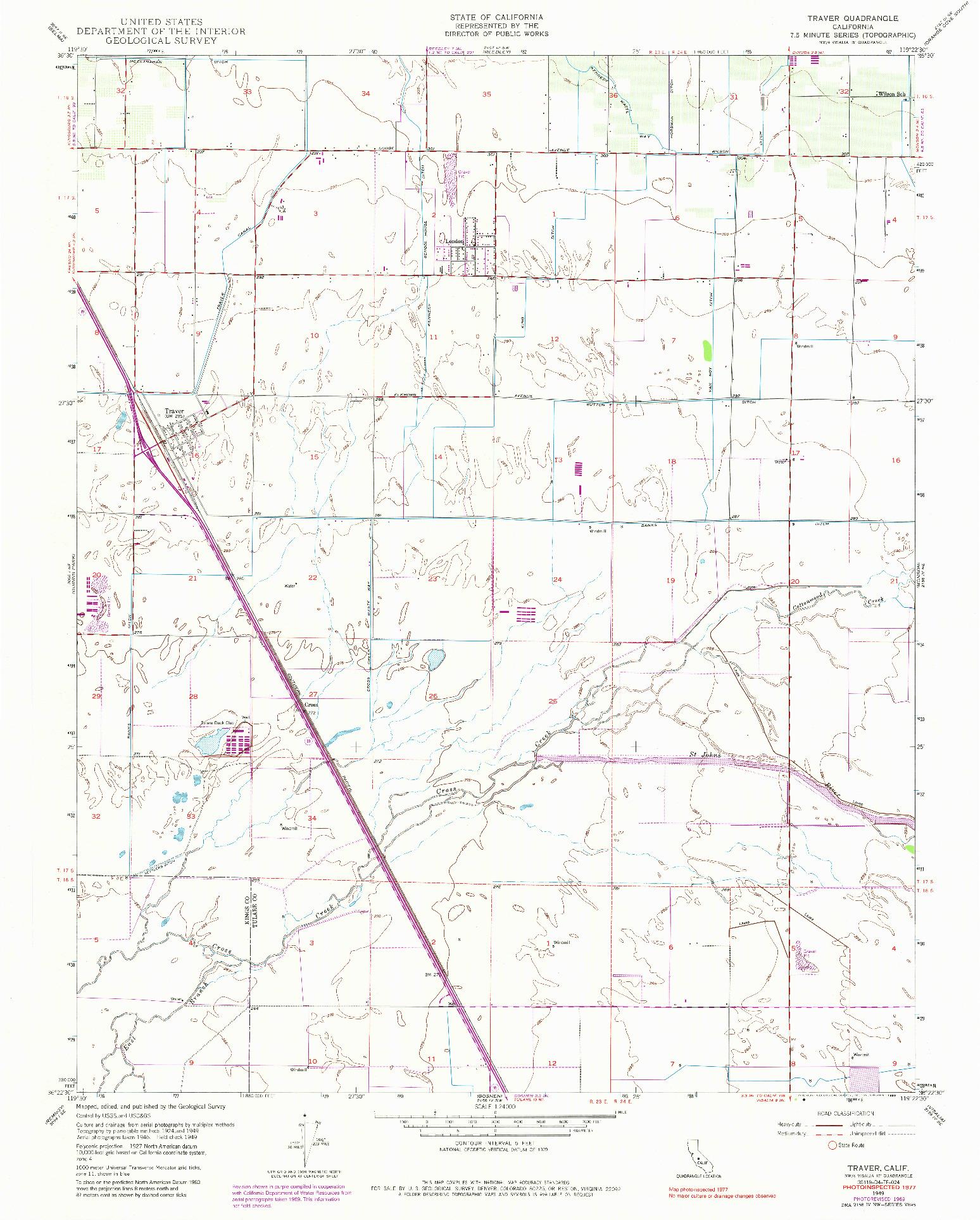 USGS 1:24000-SCALE QUADRANGLE FOR TRAVER, CA 1949