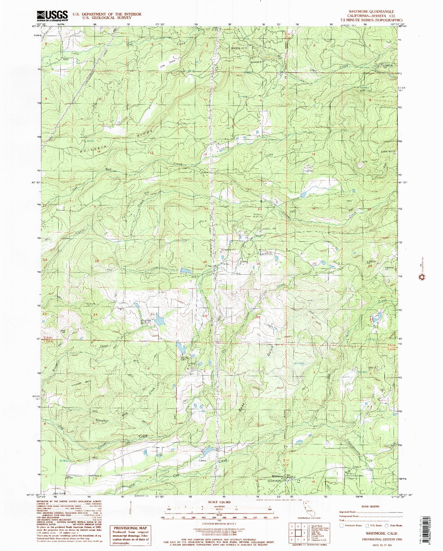 USGS 1:24000-SCALE QUADRANGLE FOR WHITMORE, CA 1986
