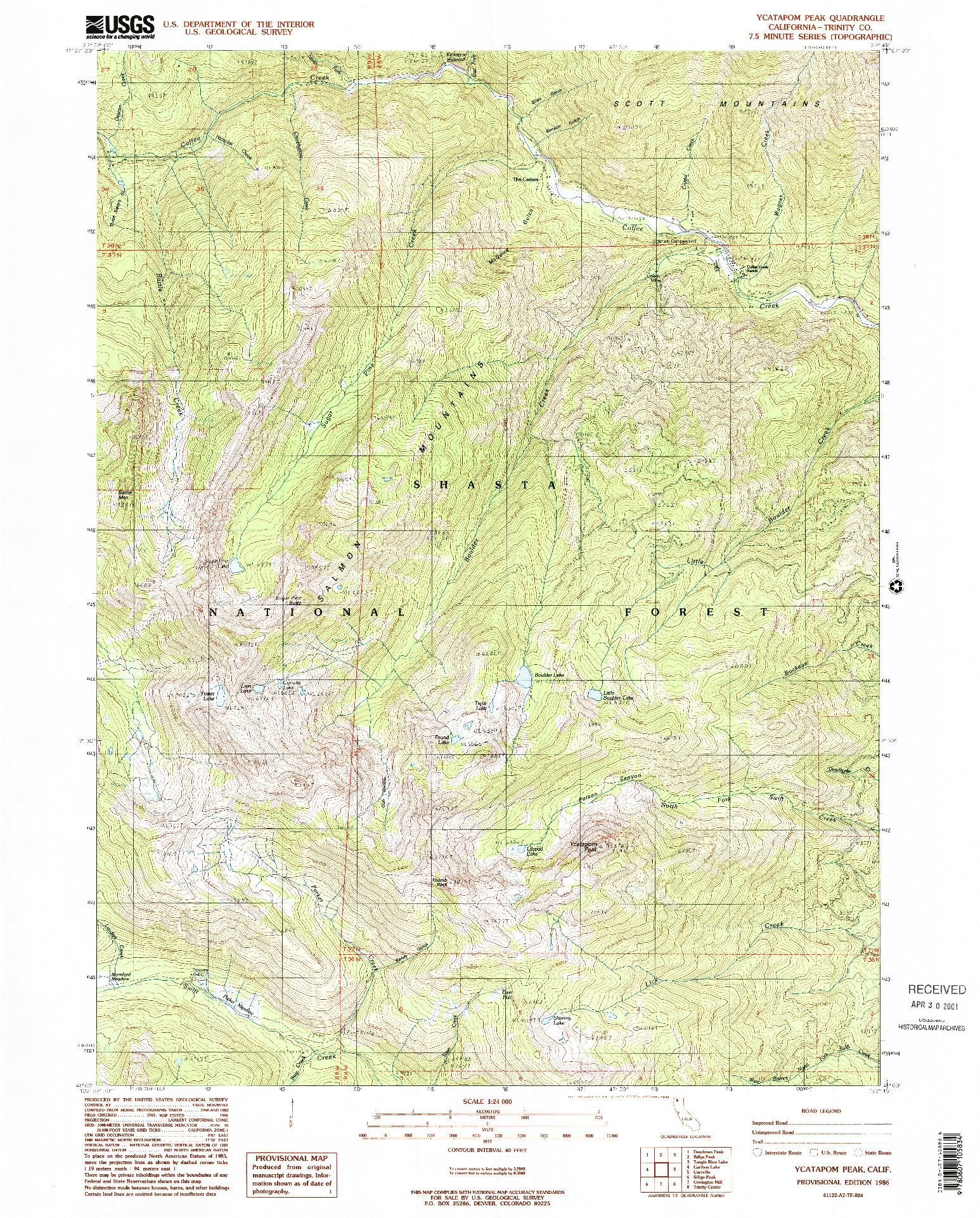 USGS 1:24000-SCALE QUADRANGLE FOR YCATAPOM PEAK, CA 1986