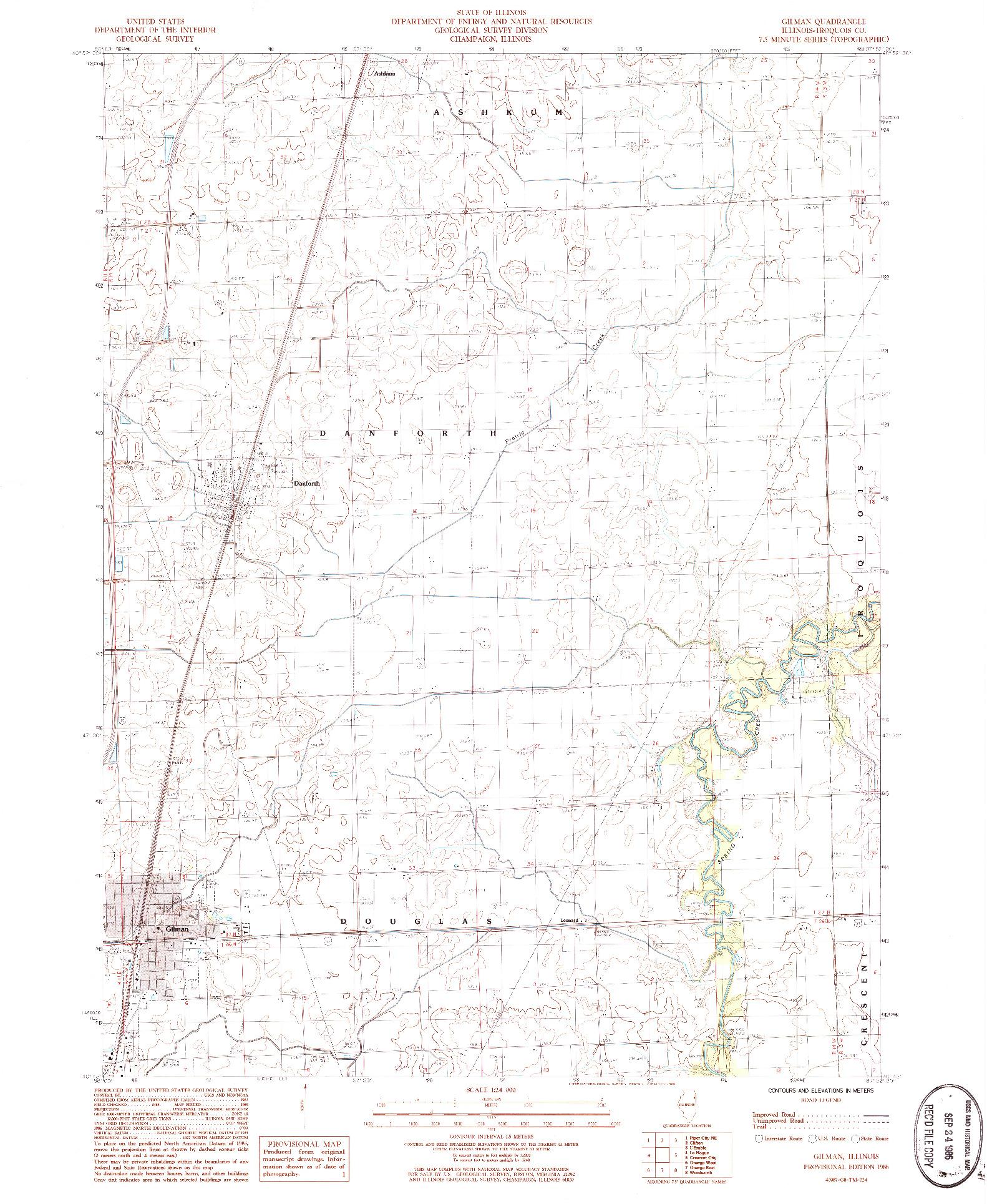 USGS 1:24000-SCALE QUADRANGLE FOR GILMAN, IL 1986