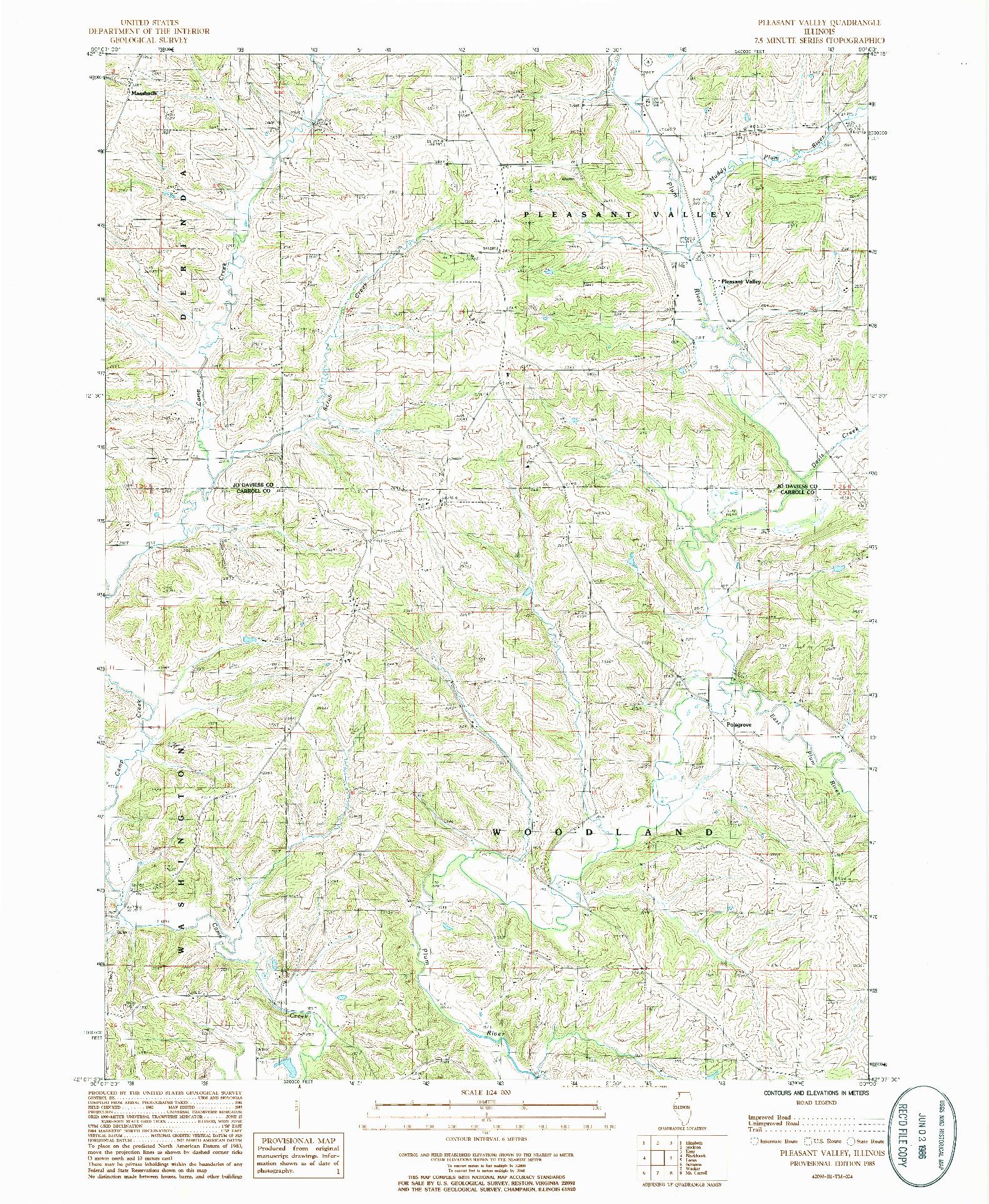 USGS 1:24000-SCALE QUADRANGLE FOR PLEASANT VALLEY, IL 1985