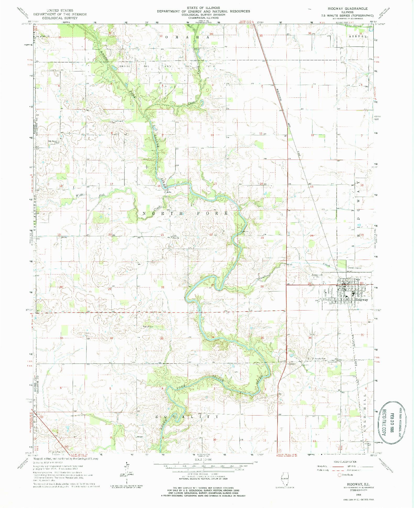 USGS 1:24000-SCALE QUADRANGLE FOR RIDGWAY, IL 1963