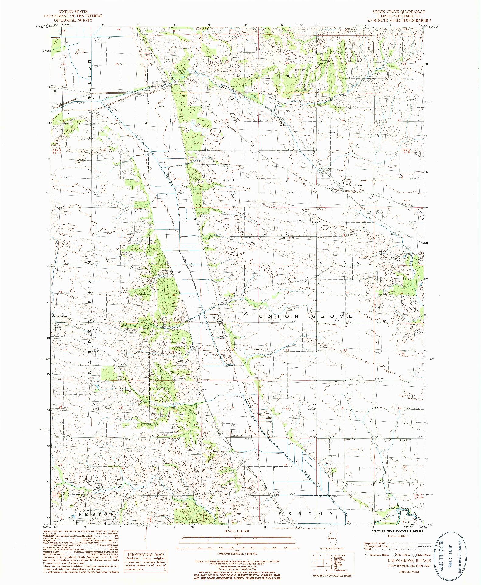 USGS 1:24000-SCALE QUADRANGLE FOR UNION GROVE, IL 1985
