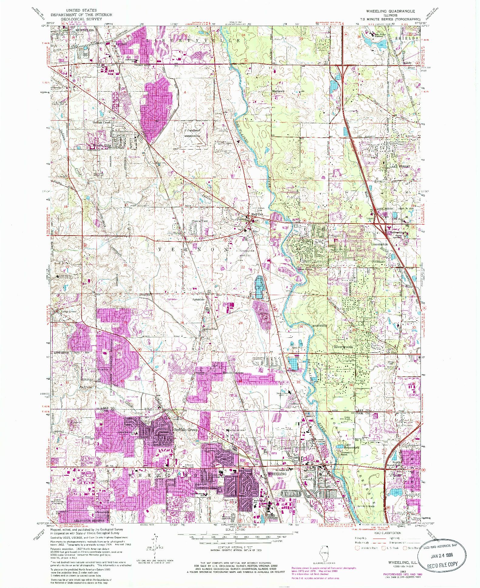 USGS 1:24000-SCALE QUADRANGLE FOR WHEELING, IL 1963