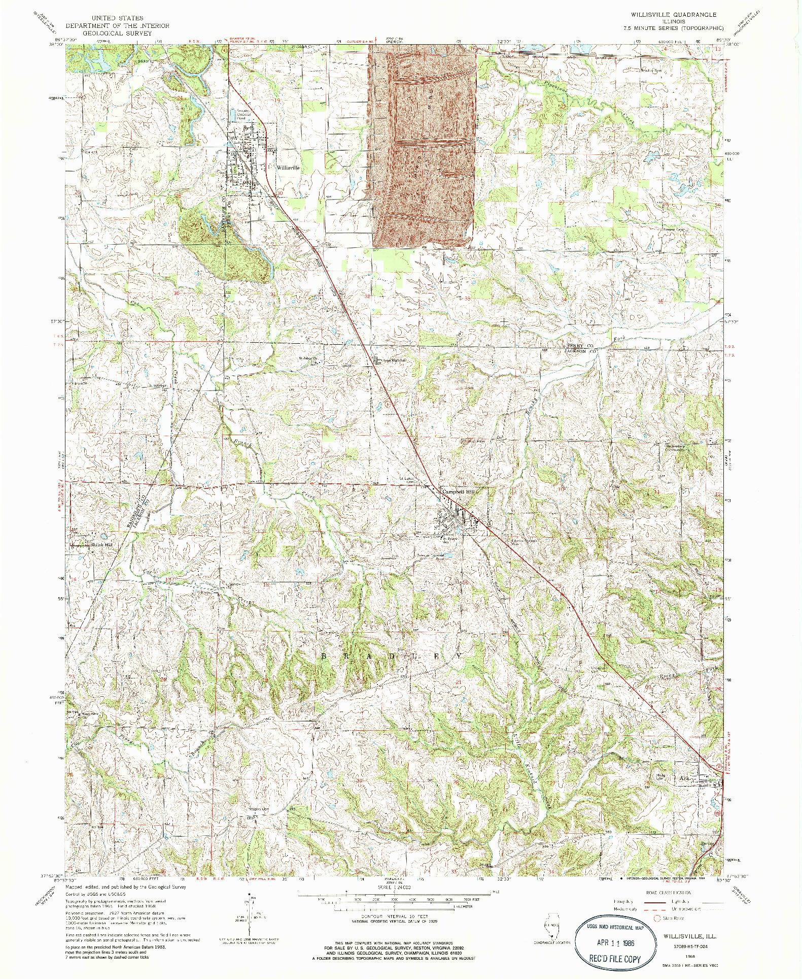 USGS 1:24000-SCALE QUADRANGLE FOR WILLISVILLE, IL 1968