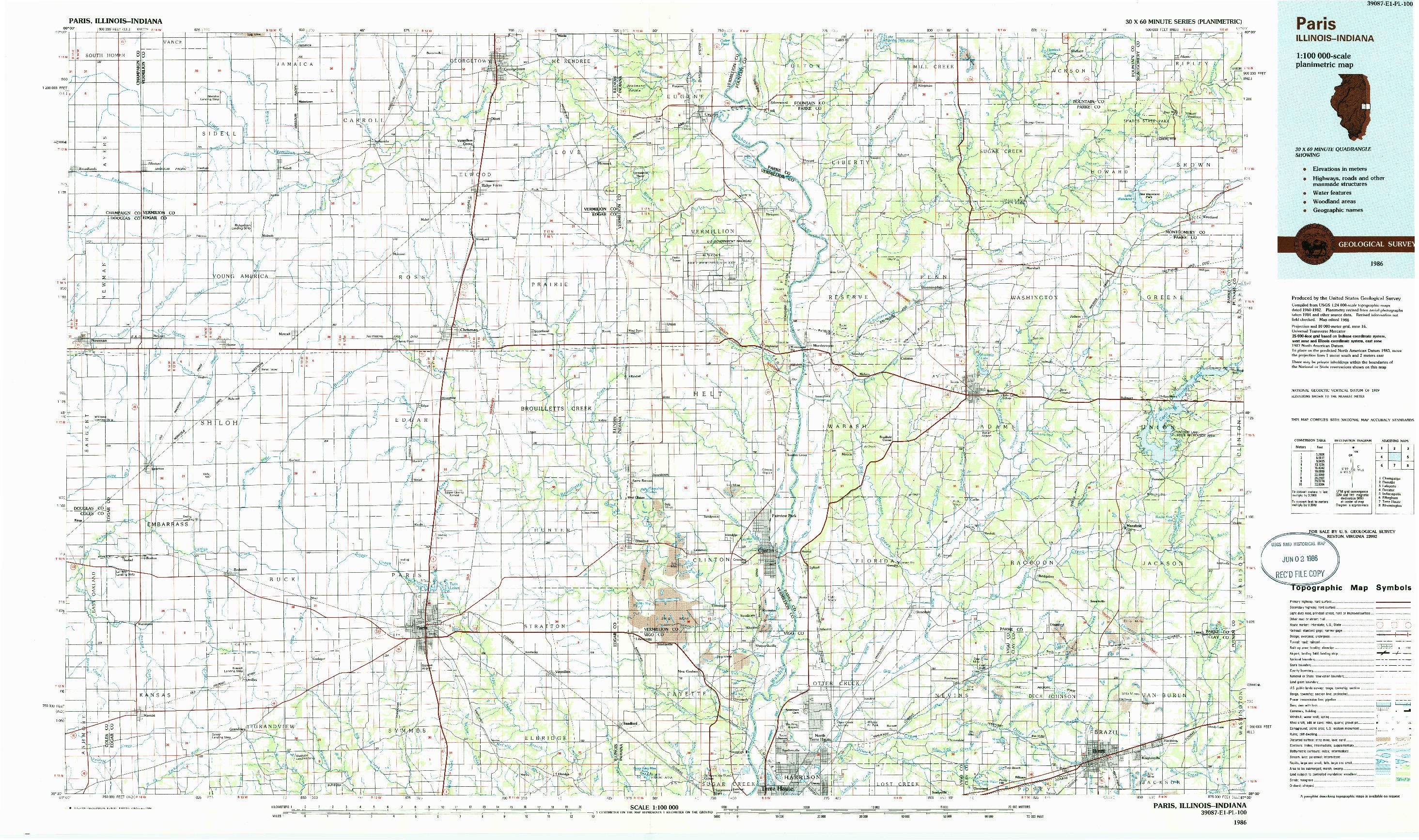 USGS 1:100000-SCALE QUADRANGLE FOR PARIS, IL 1986