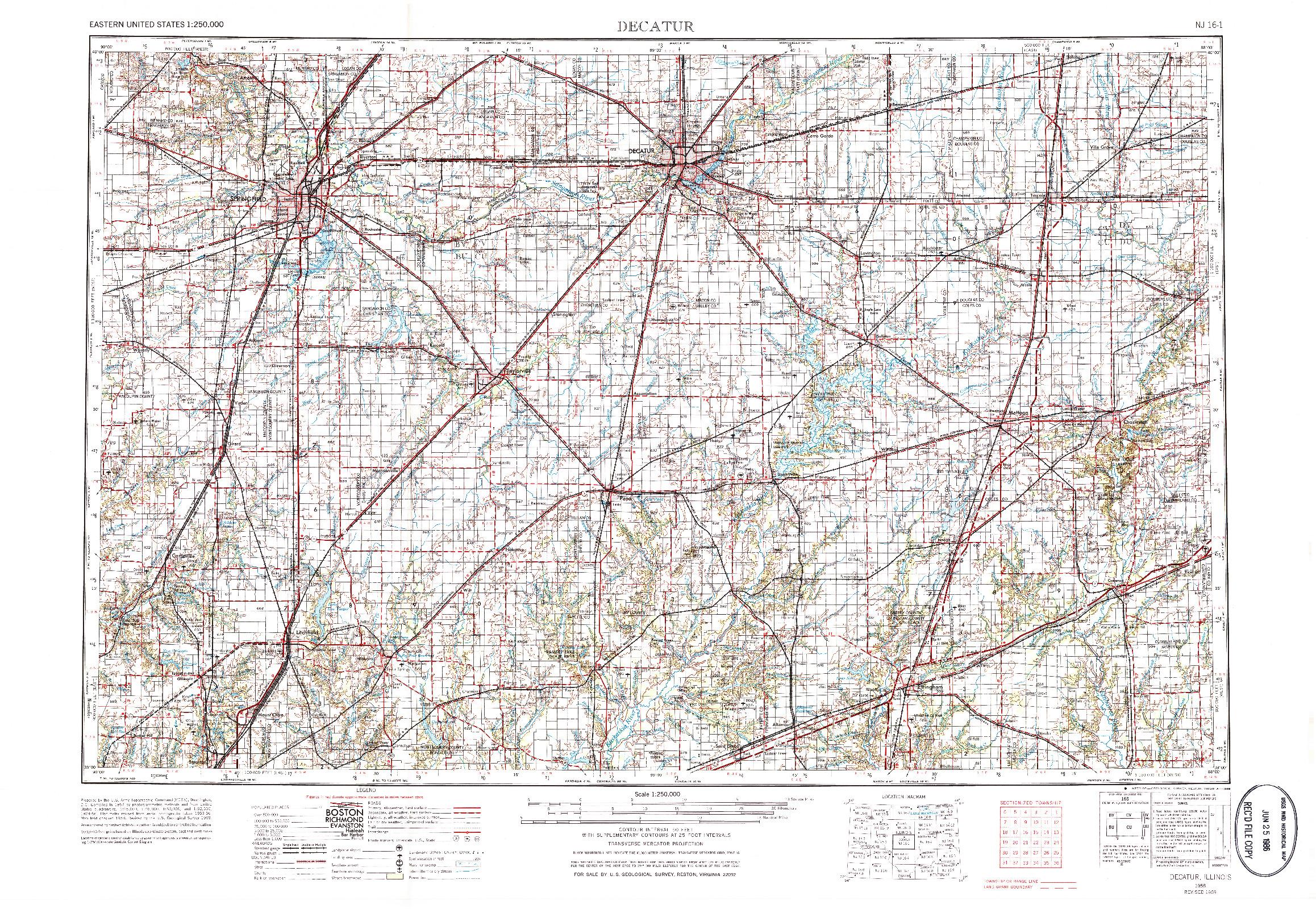 USGS 1:250000-SCALE QUADRANGLE FOR DECATUR, IL 1958