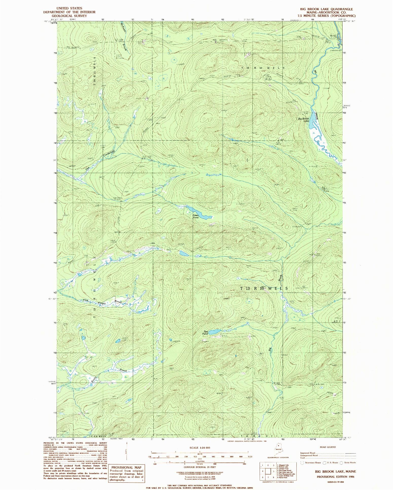 USGS 1:24000-SCALE QUADRANGLE FOR BIG BROOK LAKE, ME 1986