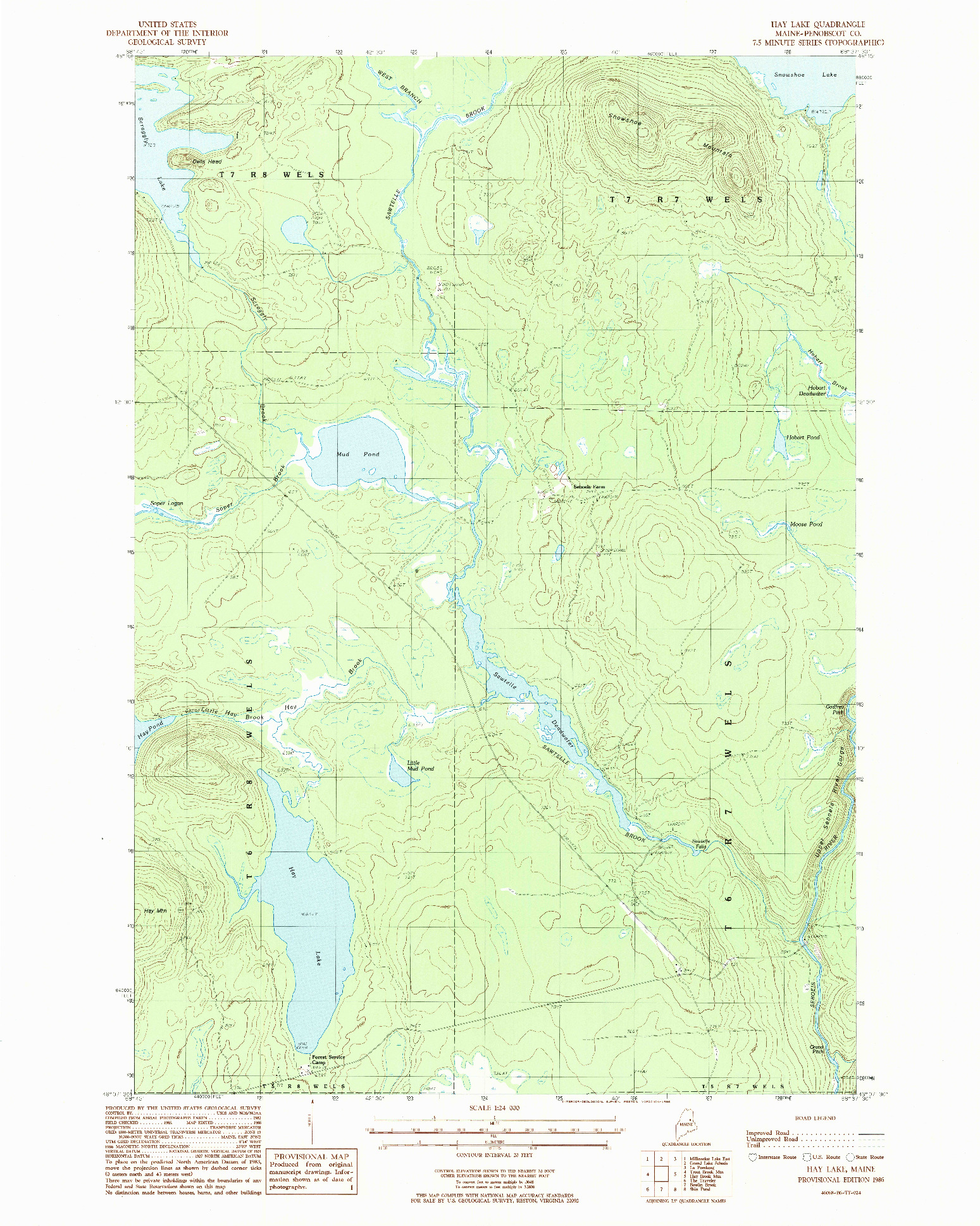 USGS 1:24000-SCALE QUADRANGLE FOR HAY LAKE, ME 1986