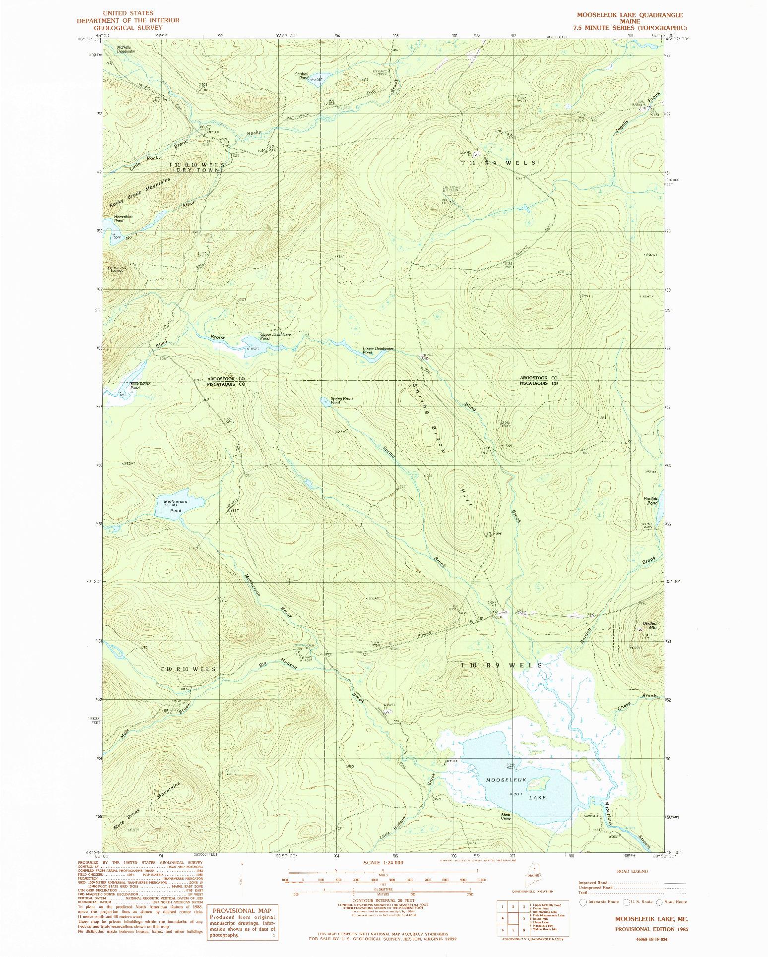 USGS 1:24000-SCALE QUADRANGLE FOR MOOSELEUK LAKE, ME 1985