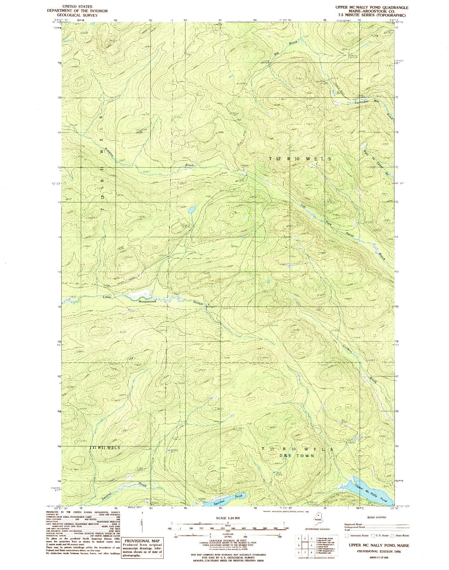 USGS 1:24000-SCALE QUADRANGLE FOR UPPER MC NALLY POND, ME 1986