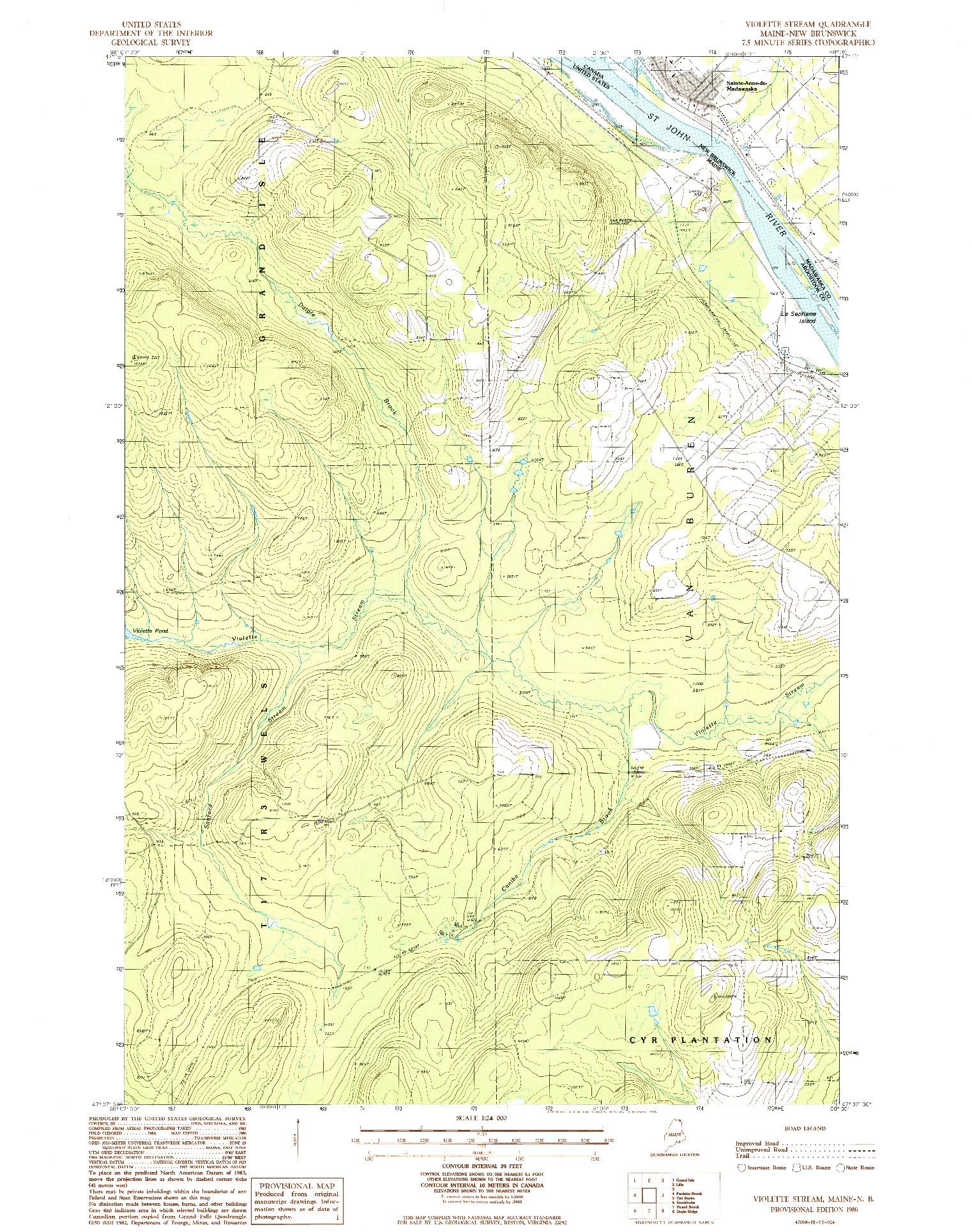 USGS 1:24000-SCALE QUADRANGLE FOR VIOLETTE STREAM, ME 1986