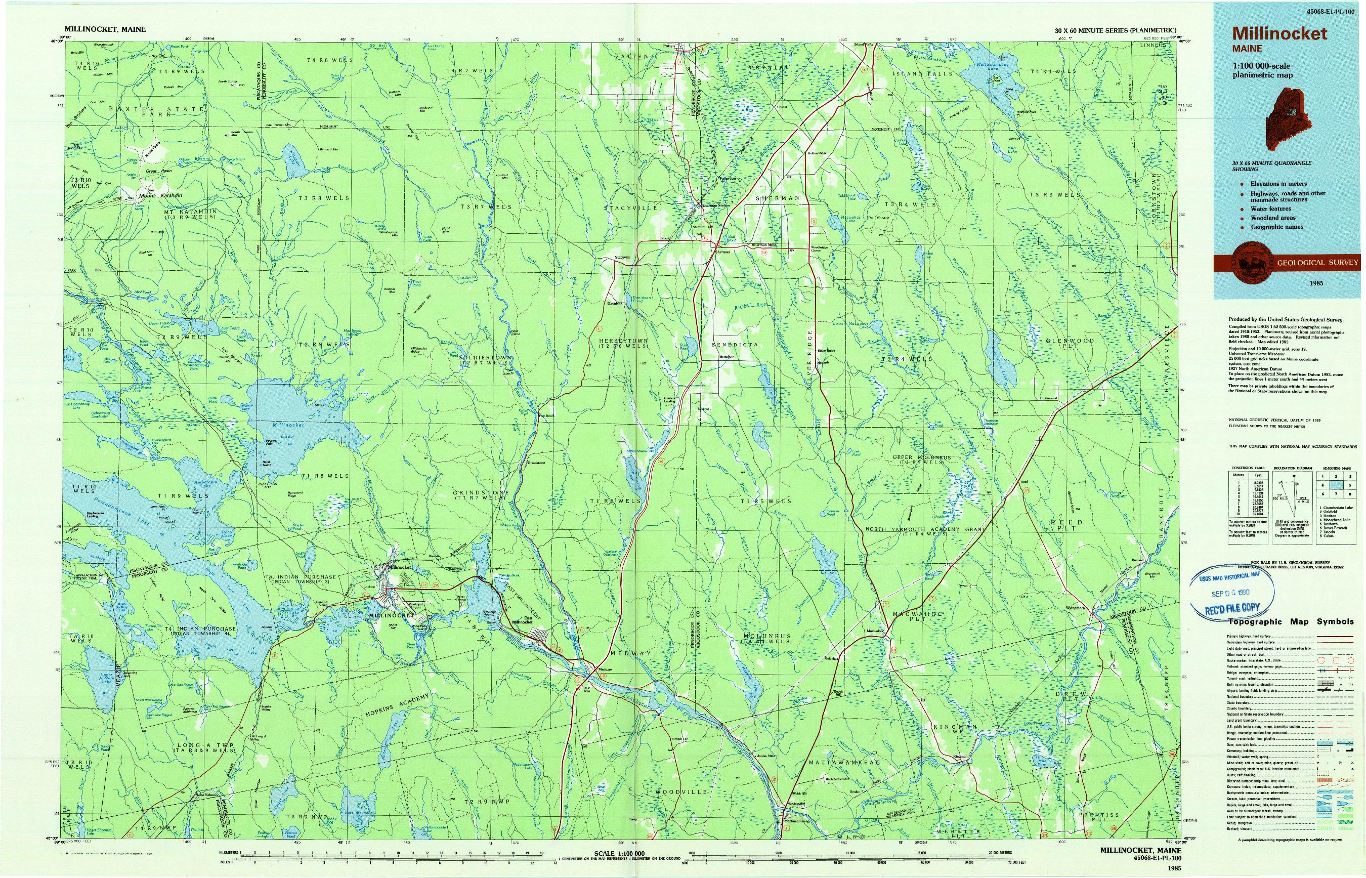 USGS 1:100000-SCALE QUADRANGLE FOR MILLINOCKET, ME 1985