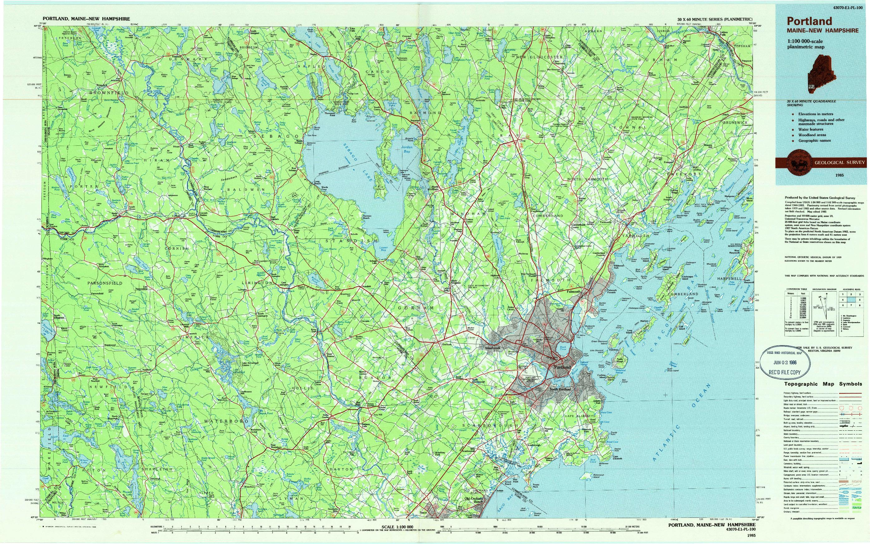 USGS 1:100000-SCALE QUADRANGLE FOR PORTLAND, ME 1985