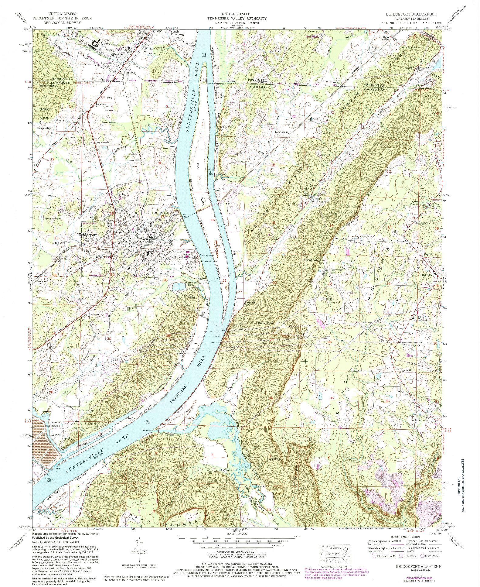 USGS 1:24000-SCALE QUADRANGLE FOR BRIDGEPORT, AL 1974