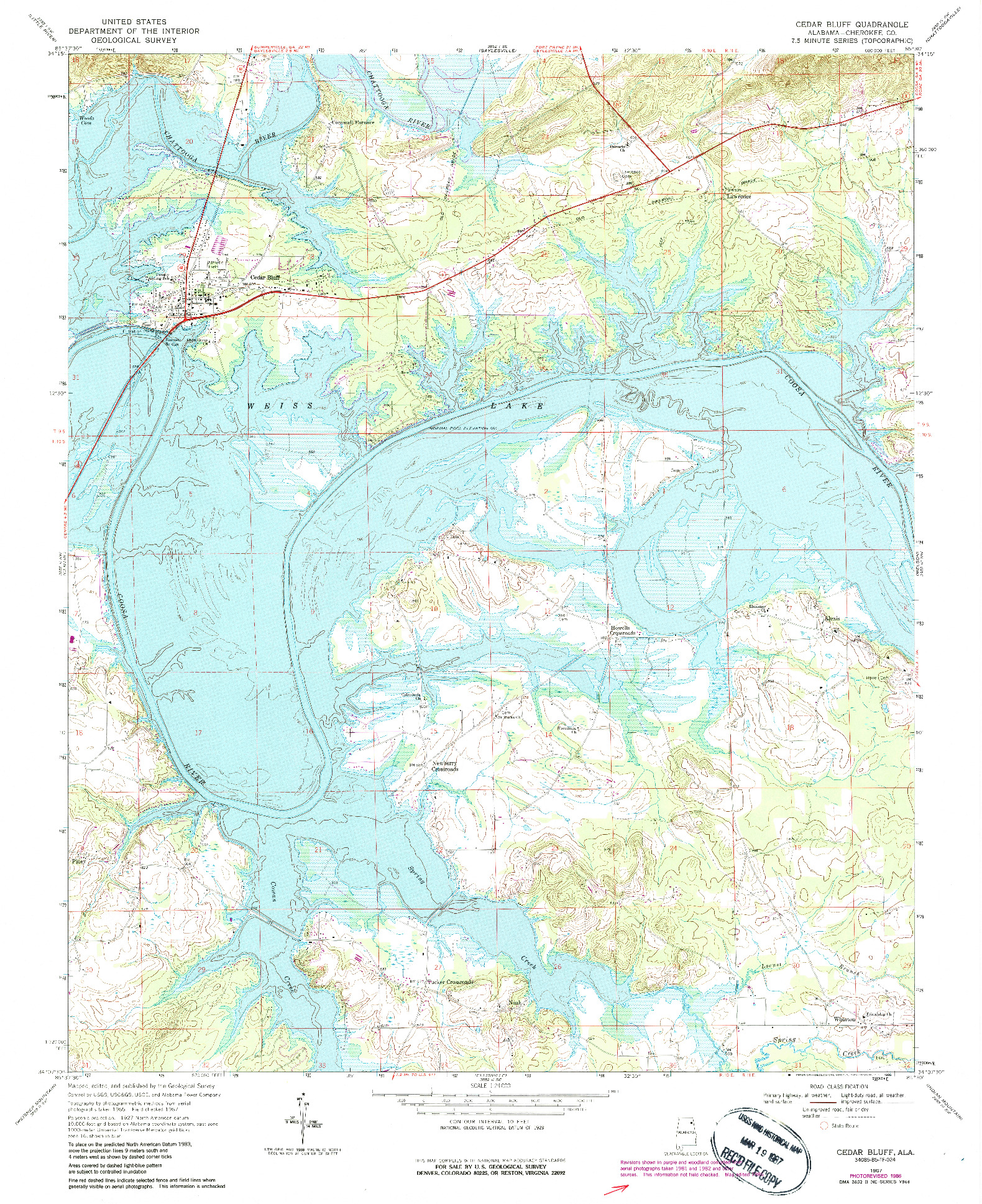 USGS 1:24000-SCALE QUADRANGLE FOR CEDAR BLUFF, AL 1967