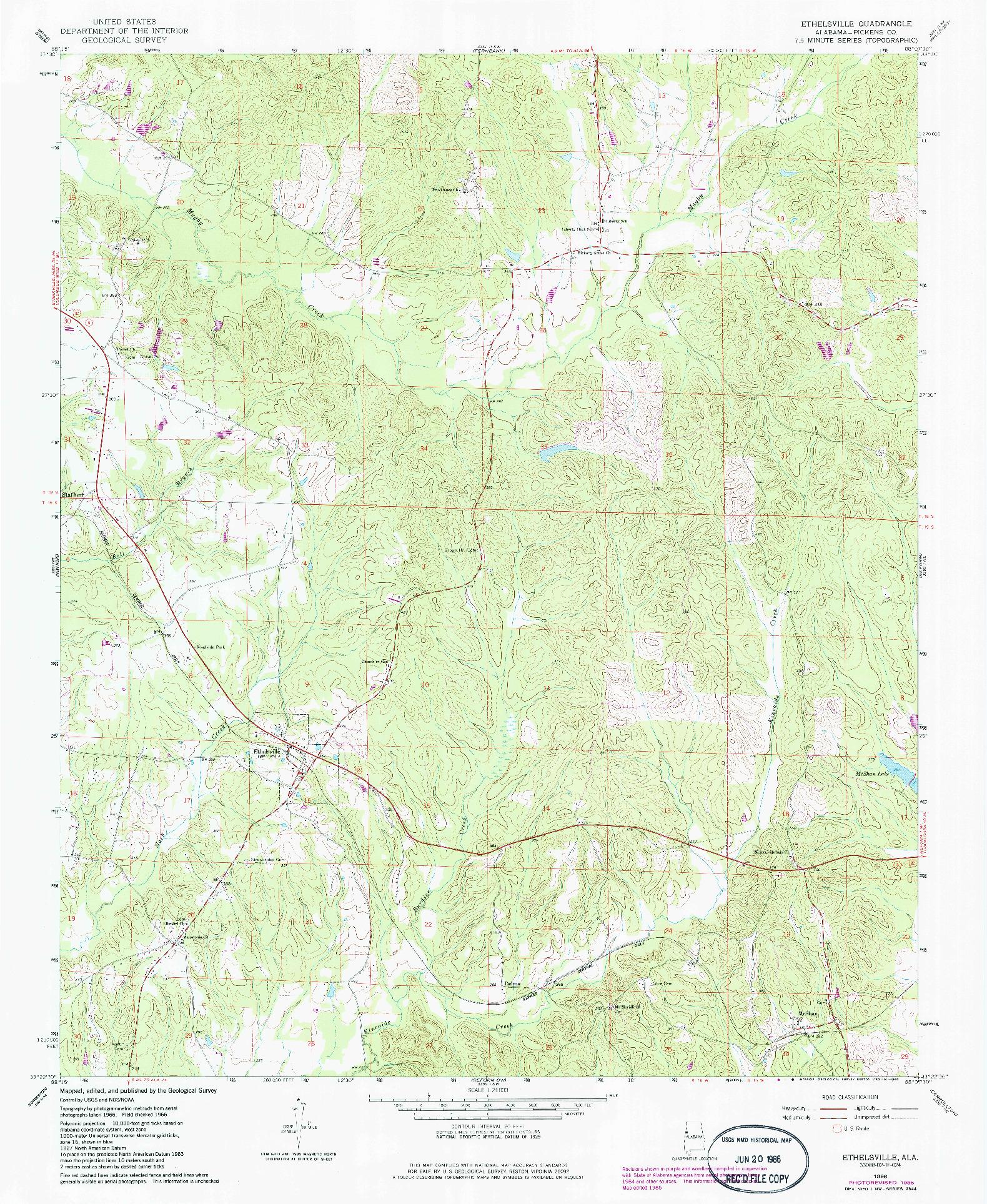 USGS 1:24000-SCALE QUADRANGLE FOR ETHELSVILLE, AL 1966