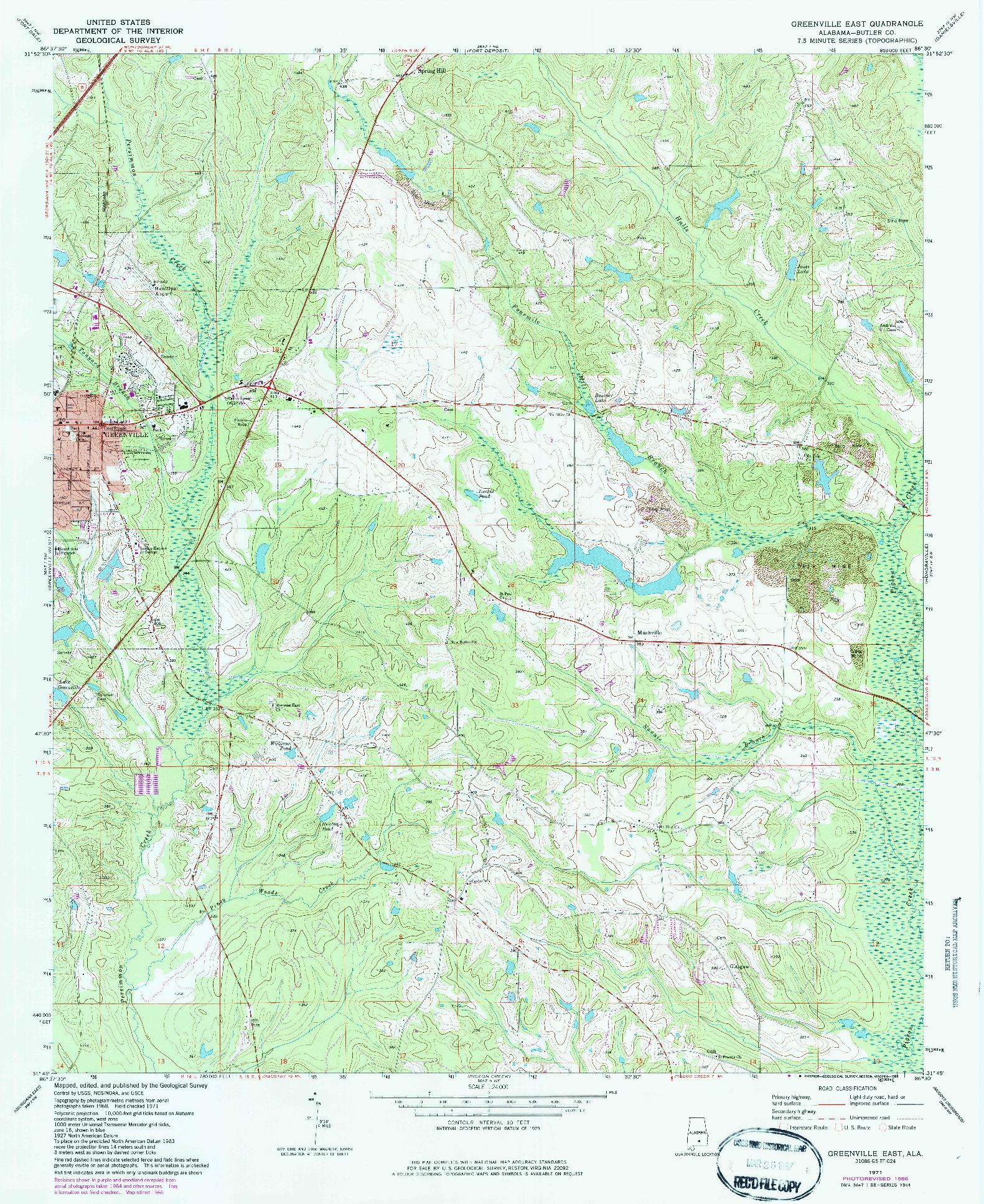 USGS 1:24000-SCALE QUADRANGLE FOR GREENVILLE EAST, AL 1971
