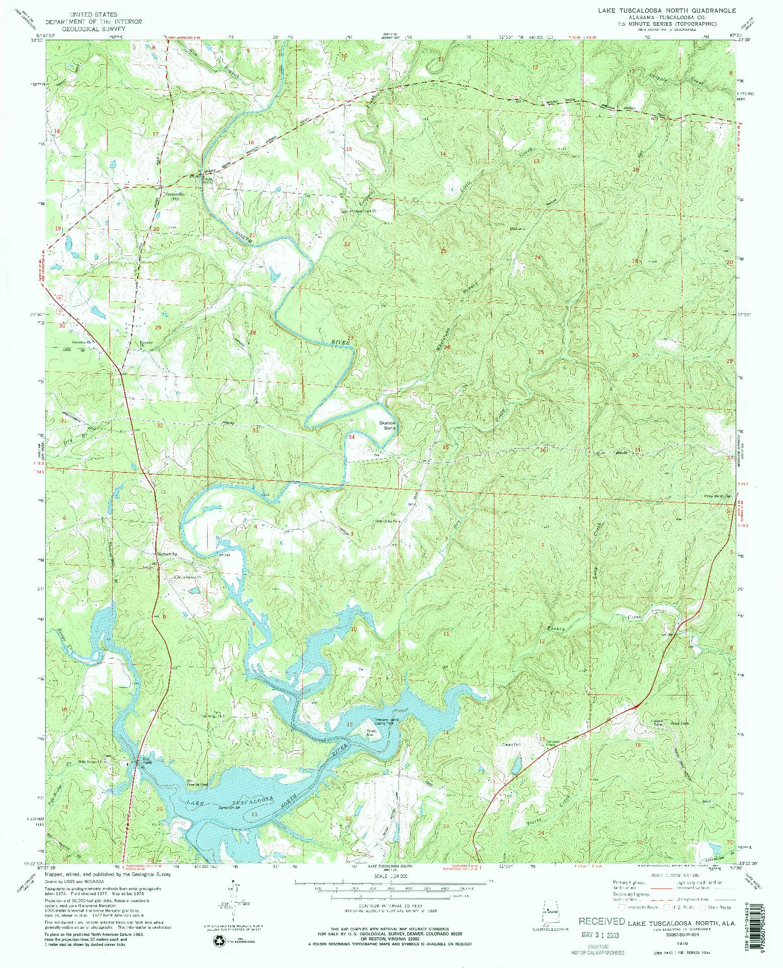 USGS 1:24000-SCALE QUADRANGLE FOR LAKE TUSCALOOSA NORTH, AL 1978
