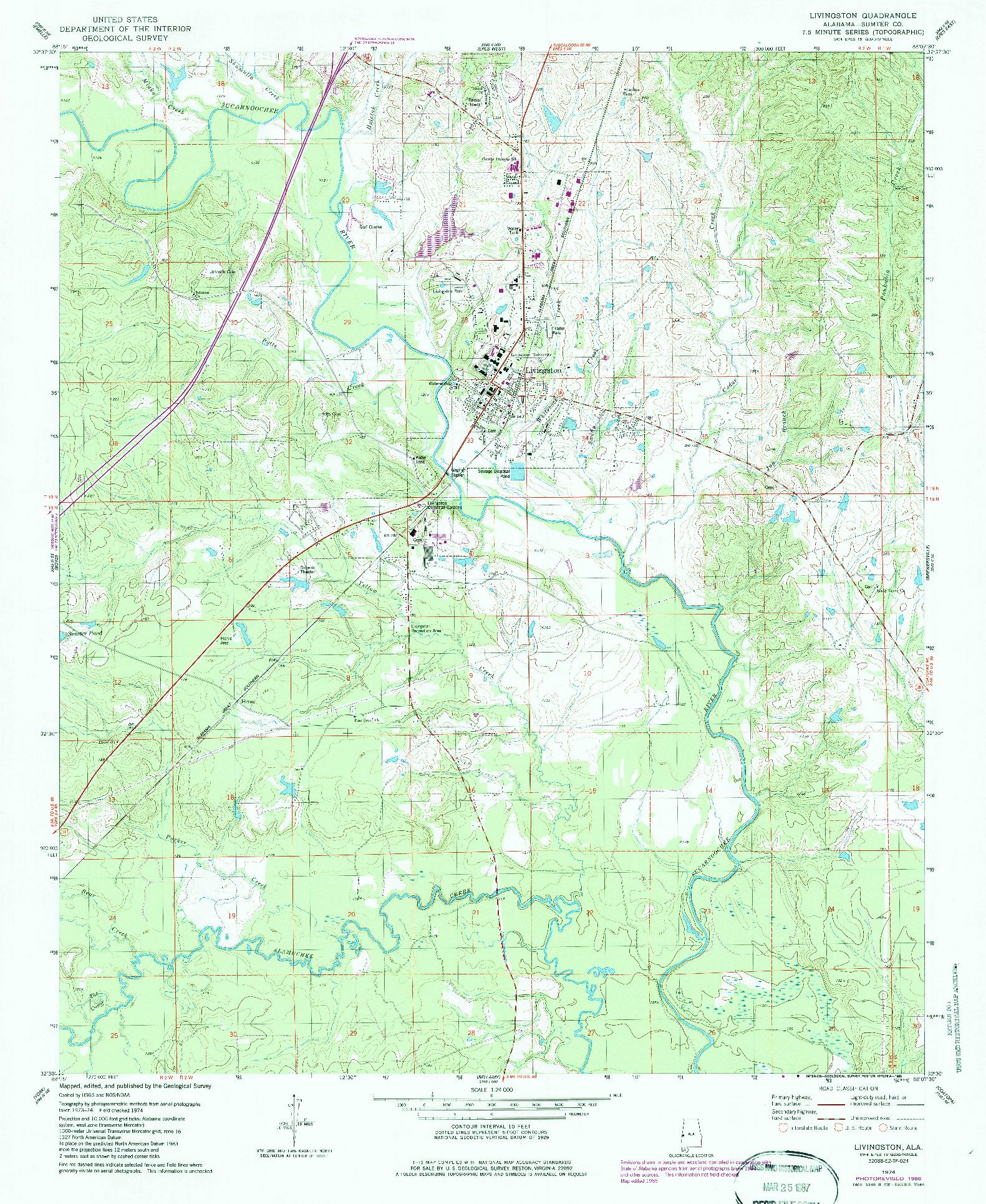USGS 1:24000-SCALE QUADRANGLE FOR LIVINGSTON, AL 1974