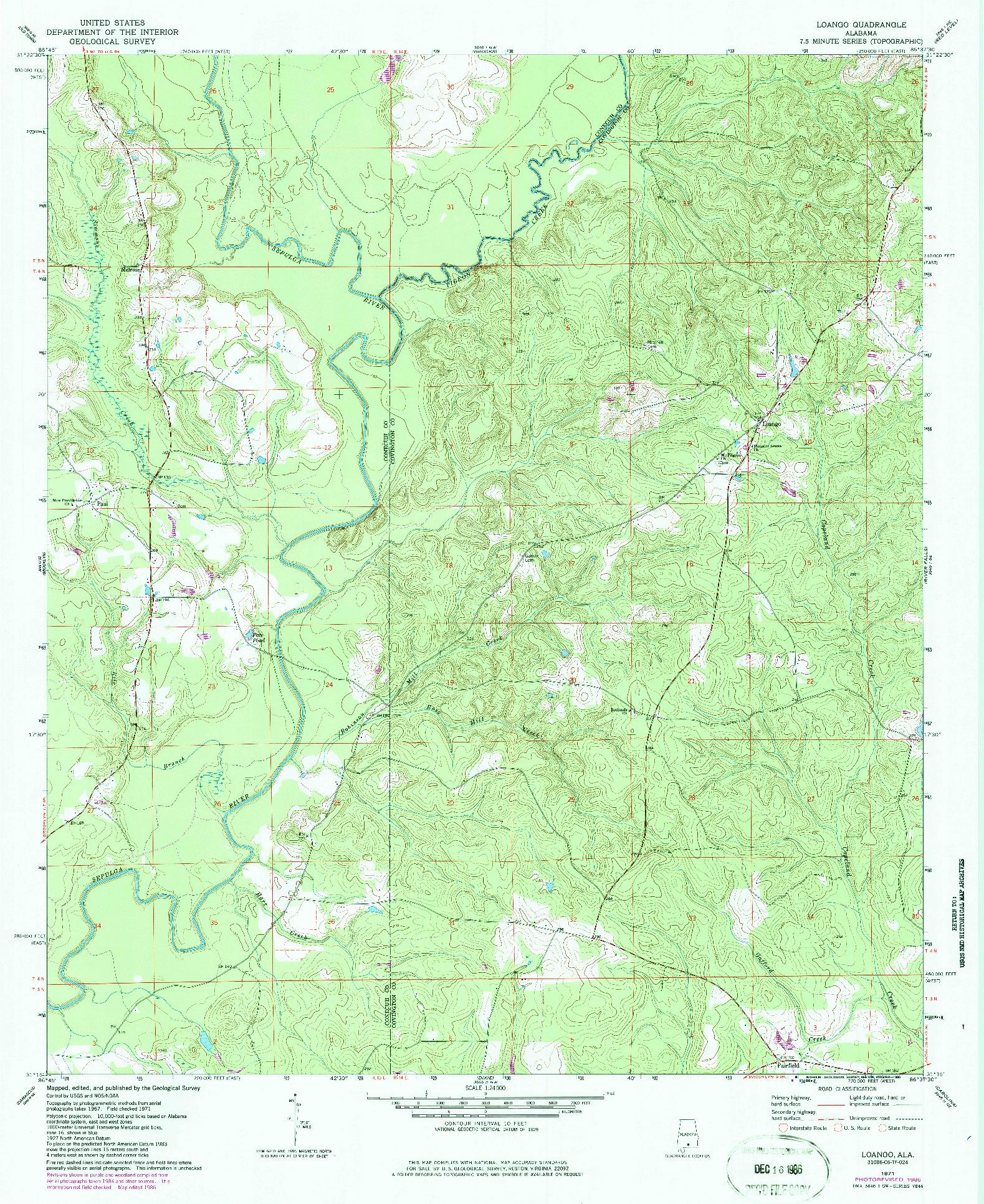 USGS 1:24000-SCALE QUADRANGLE FOR LOANGO, AL 1971