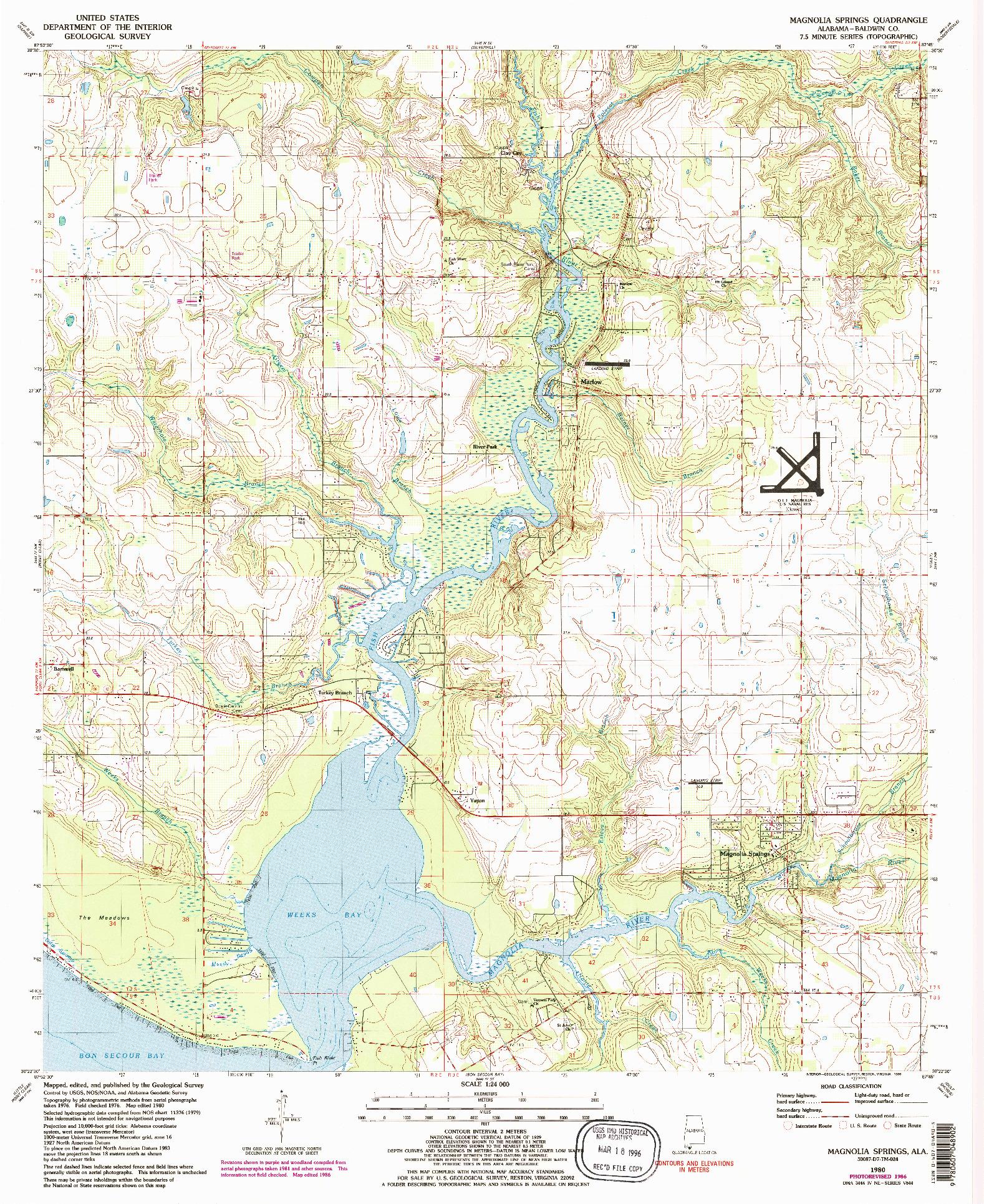 USGS 1:24000-SCALE QUADRANGLE FOR MAGNOLIA SPRINGS, AL 1980