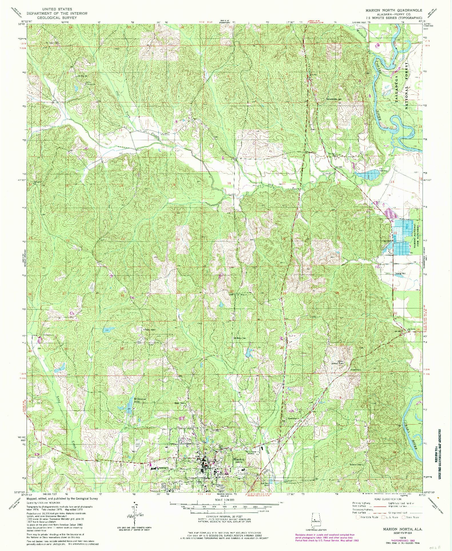 USGS 1:24000-SCALE QUADRANGLE FOR MARION NORTH, AL 1979