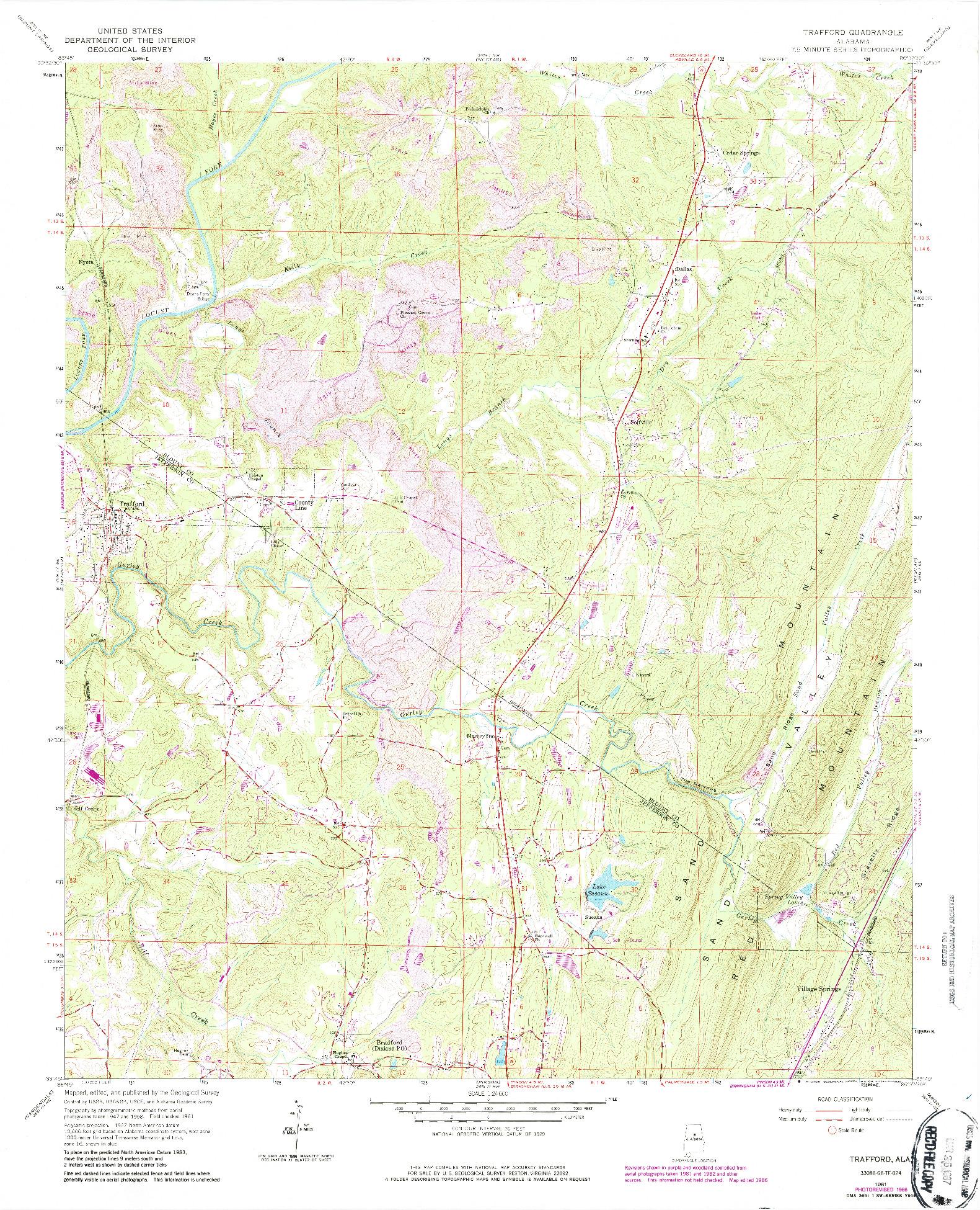 USGS 1:24000-SCALE QUADRANGLE FOR TRAFFORD, AL 1961