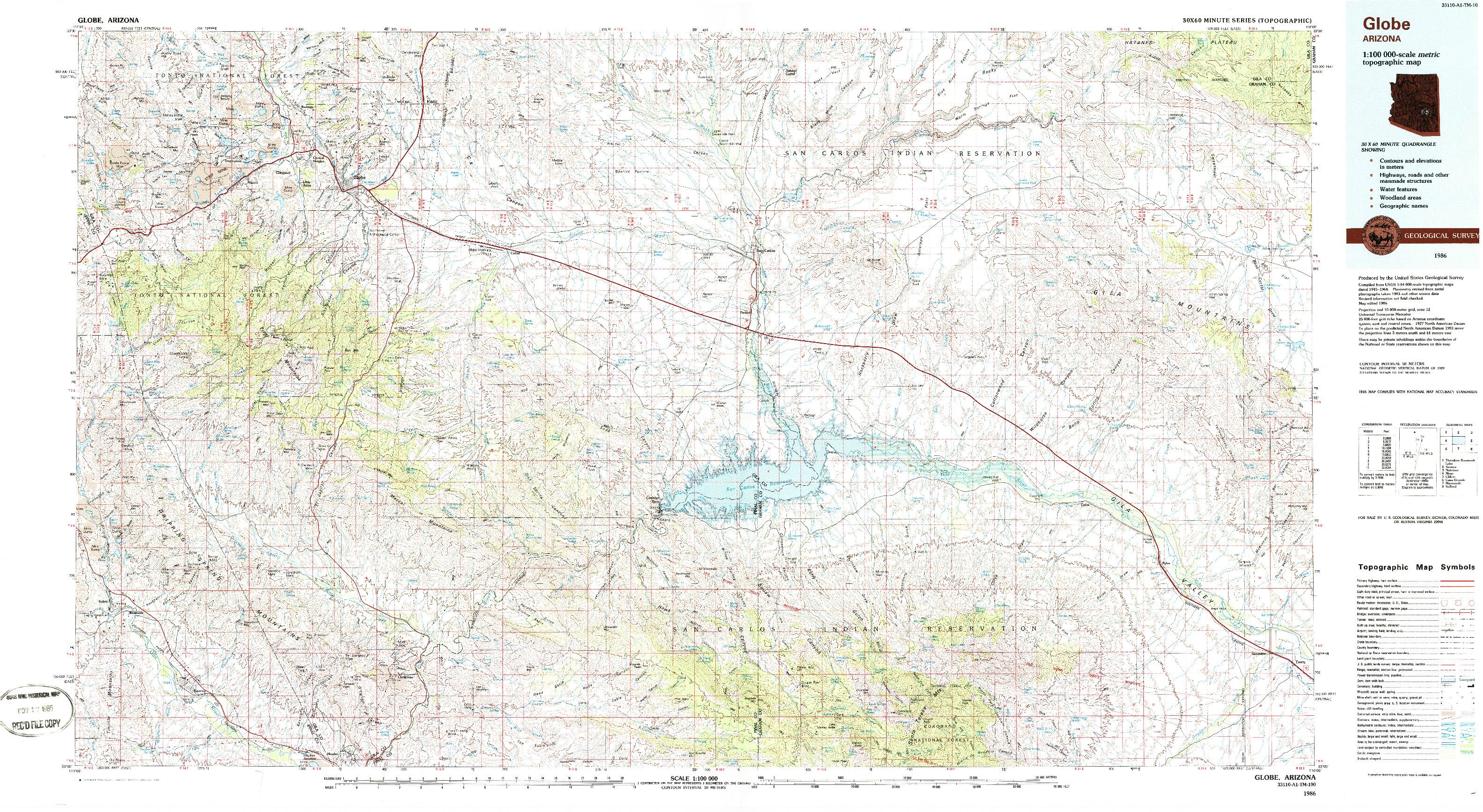 USGS 1:100000-SCALE QUADRANGLE FOR GLOBE, AZ 1986