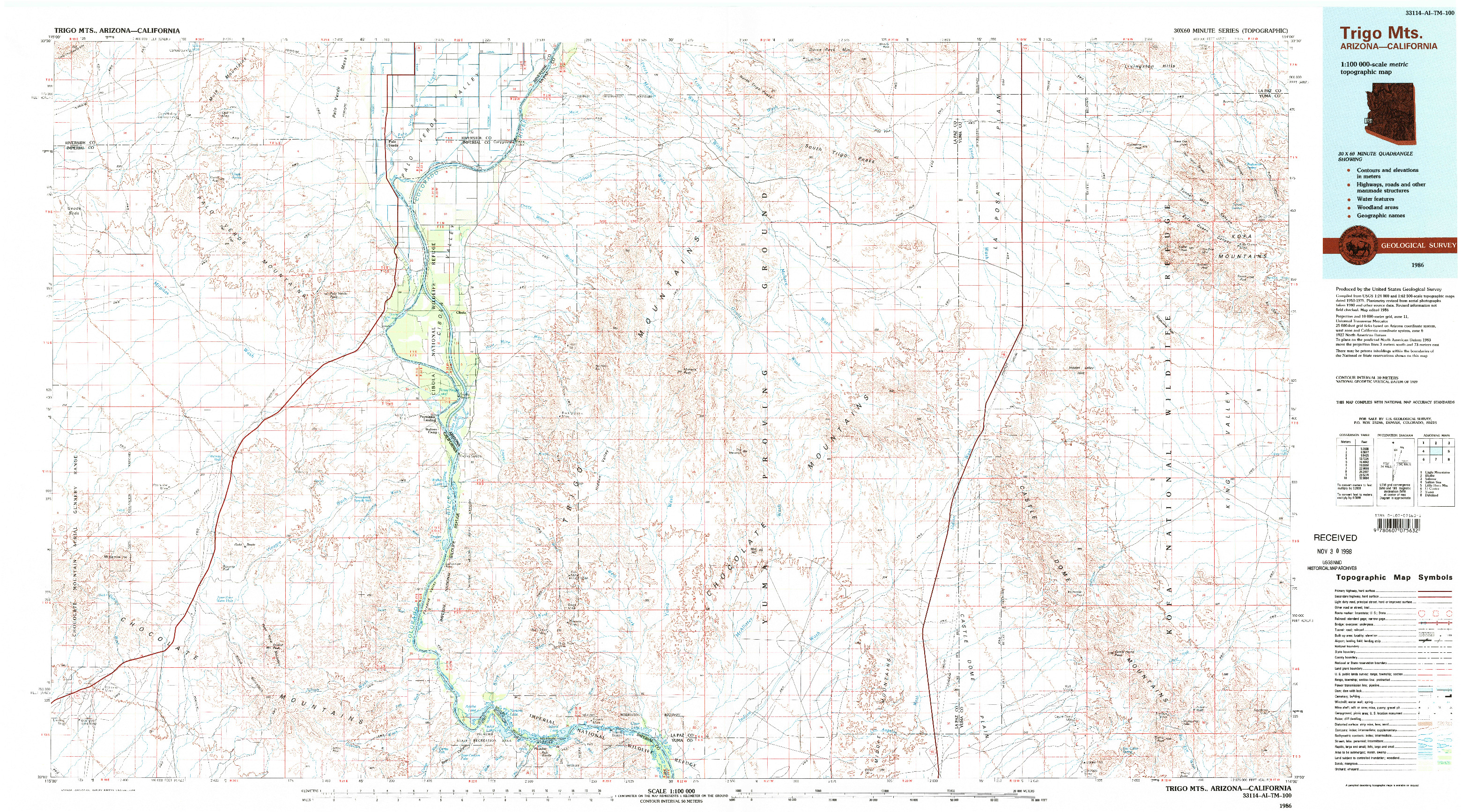 USGS 1:100000-SCALE QUADRANGLE FOR TRIGO MTS, AZ 1986