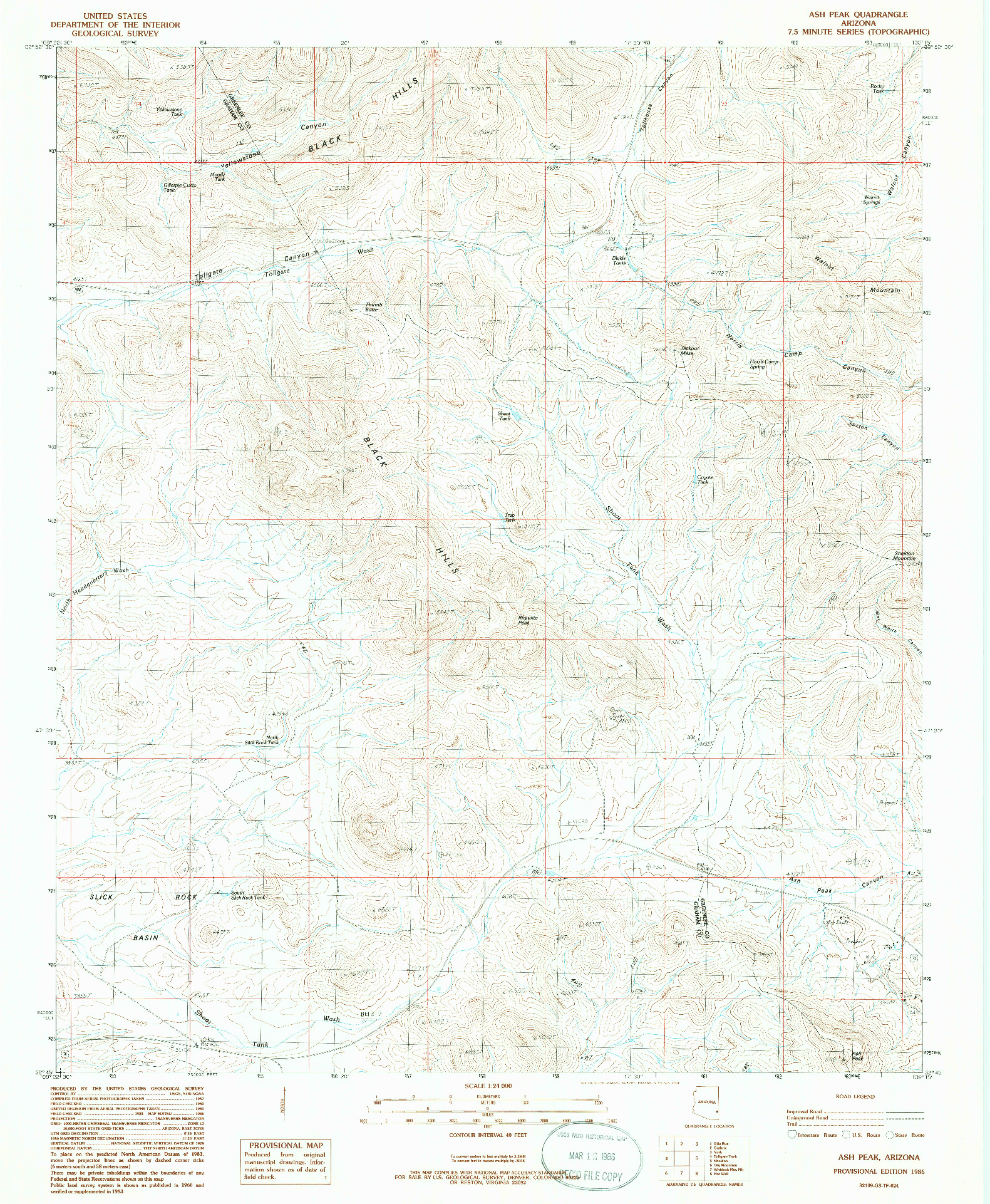 USGS 1:24000-SCALE QUADRANGLE FOR ASH PEAK, AZ 1986