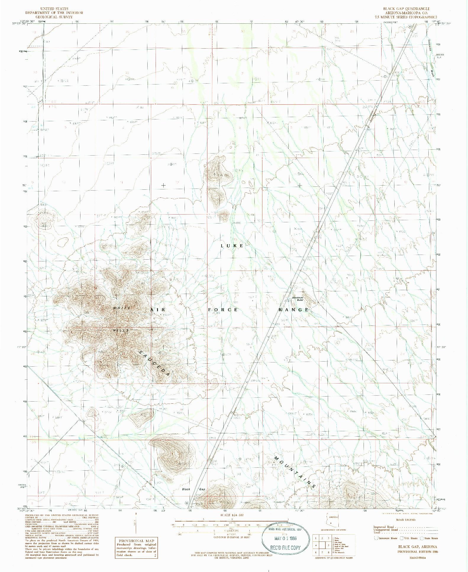 USGS 1:24000-SCALE QUADRANGLE FOR BLACK GAP, AZ 1986
