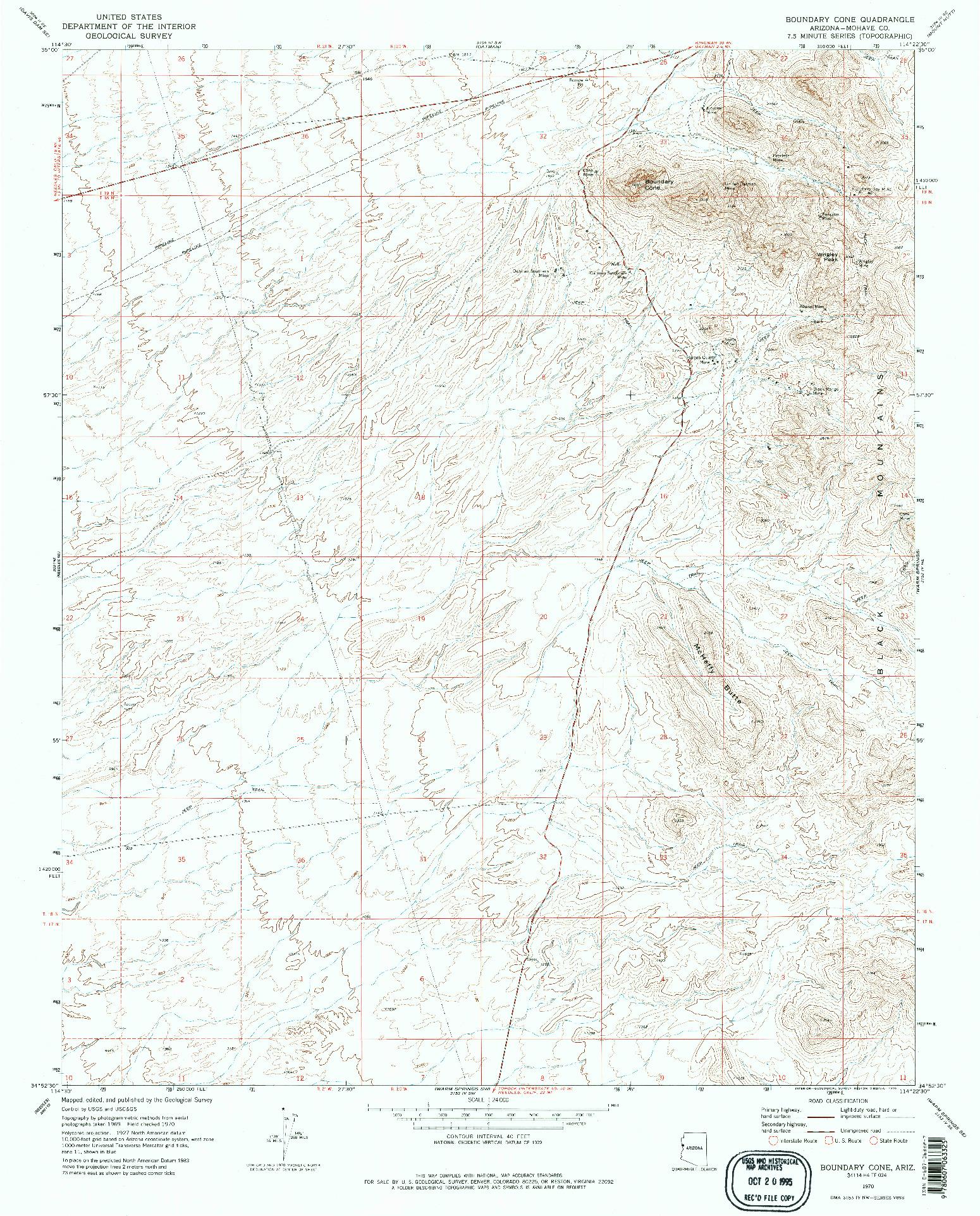 USGS 1:24000-SCALE QUADRANGLE FOR BOUNDARY CONE, AZ 1970