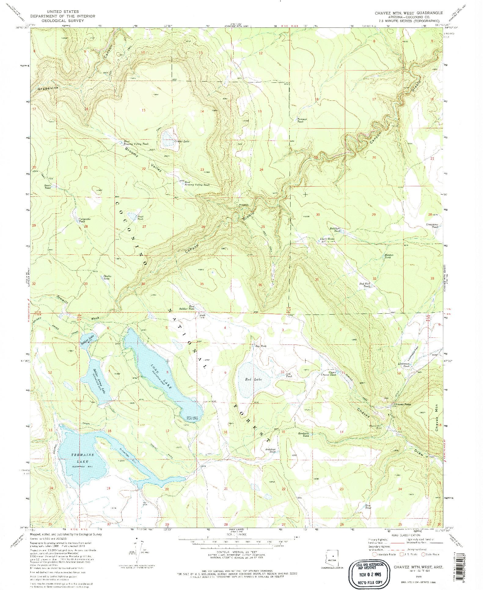 USGS 1:24000-SCALE QUADRANGLE FOR CHAVEZ MTN WEST, AZ 1970