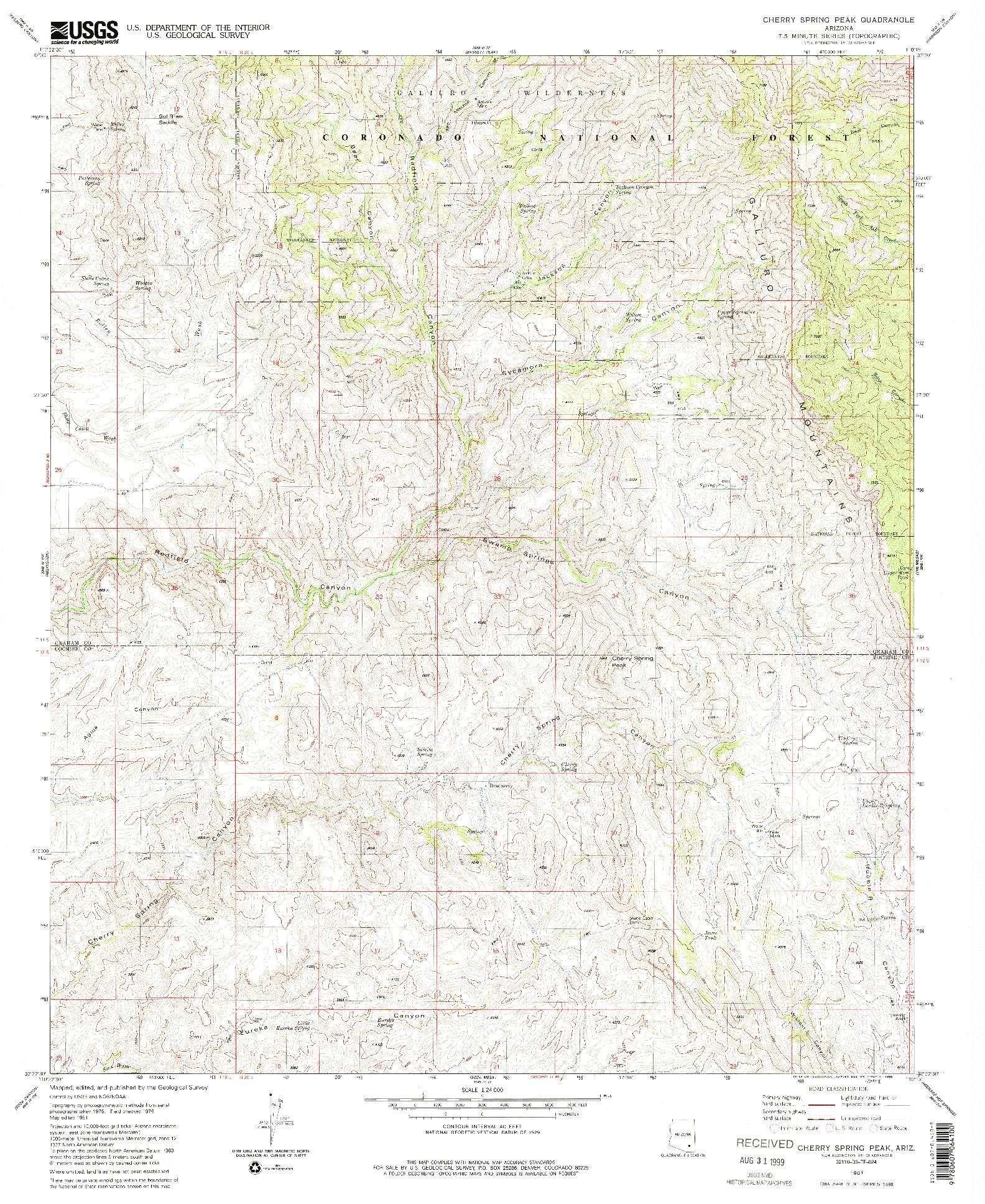 USGS 1:24000-SCALE QUADRANGLE FOR CHERRY SPRING PEAK, AZ 1981