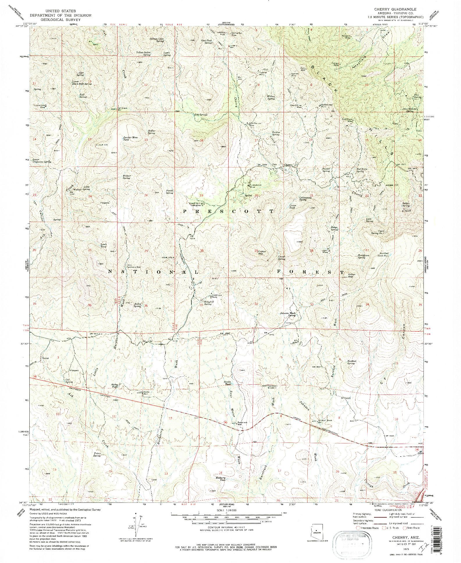 USGS 1:24000-SCALE QUADRANGLE FOR CHERRY, AZ 1973