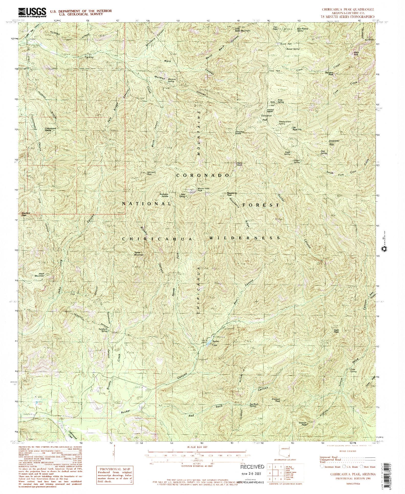 USGS 1:24000-SCALE QUADRANGLE FOR CHIRICAHUA PEAK, AZ 1986