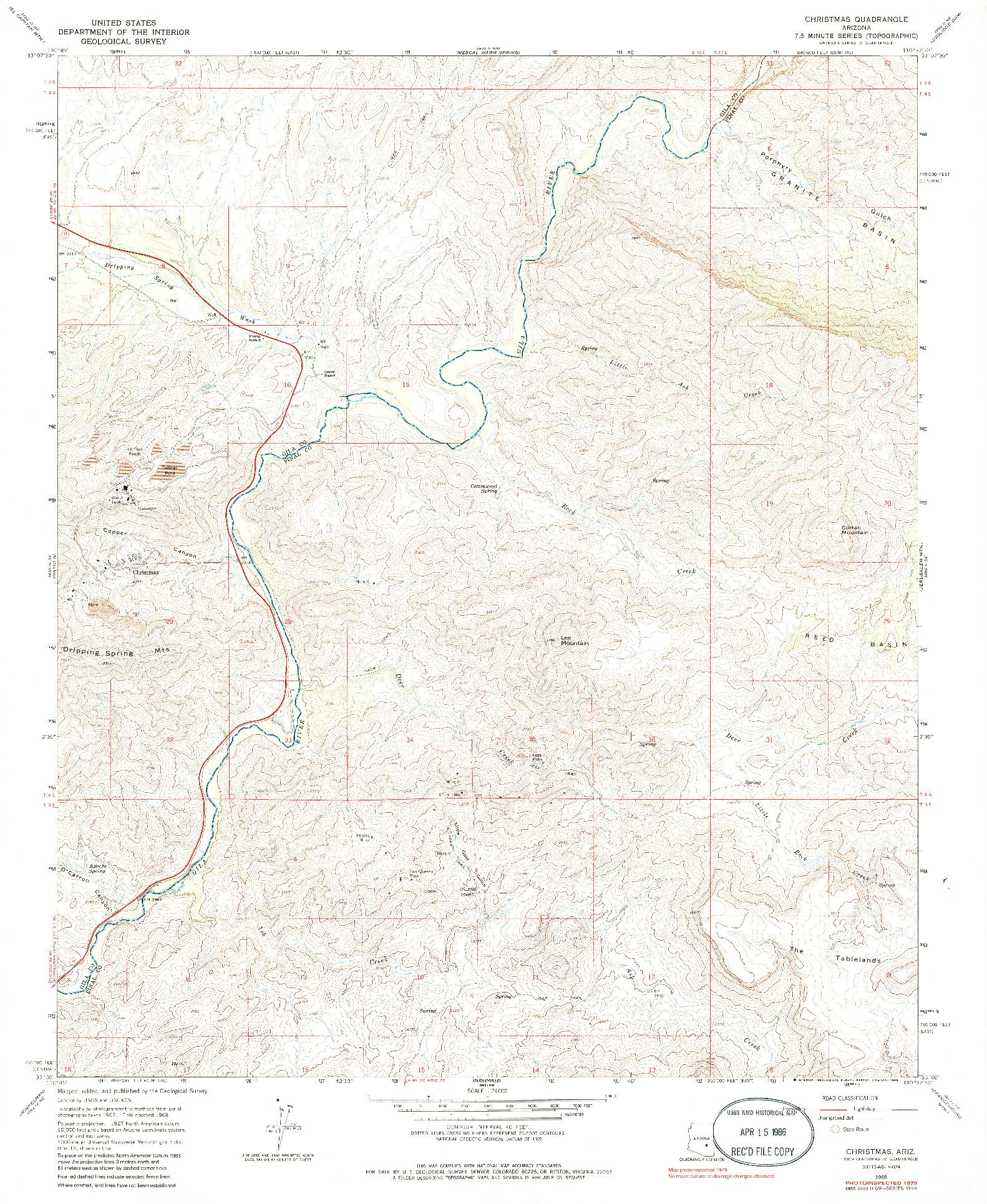 USGS 1:24000-SCALE QUADRANGLE FOR CHRISTMAS, AZ 1968