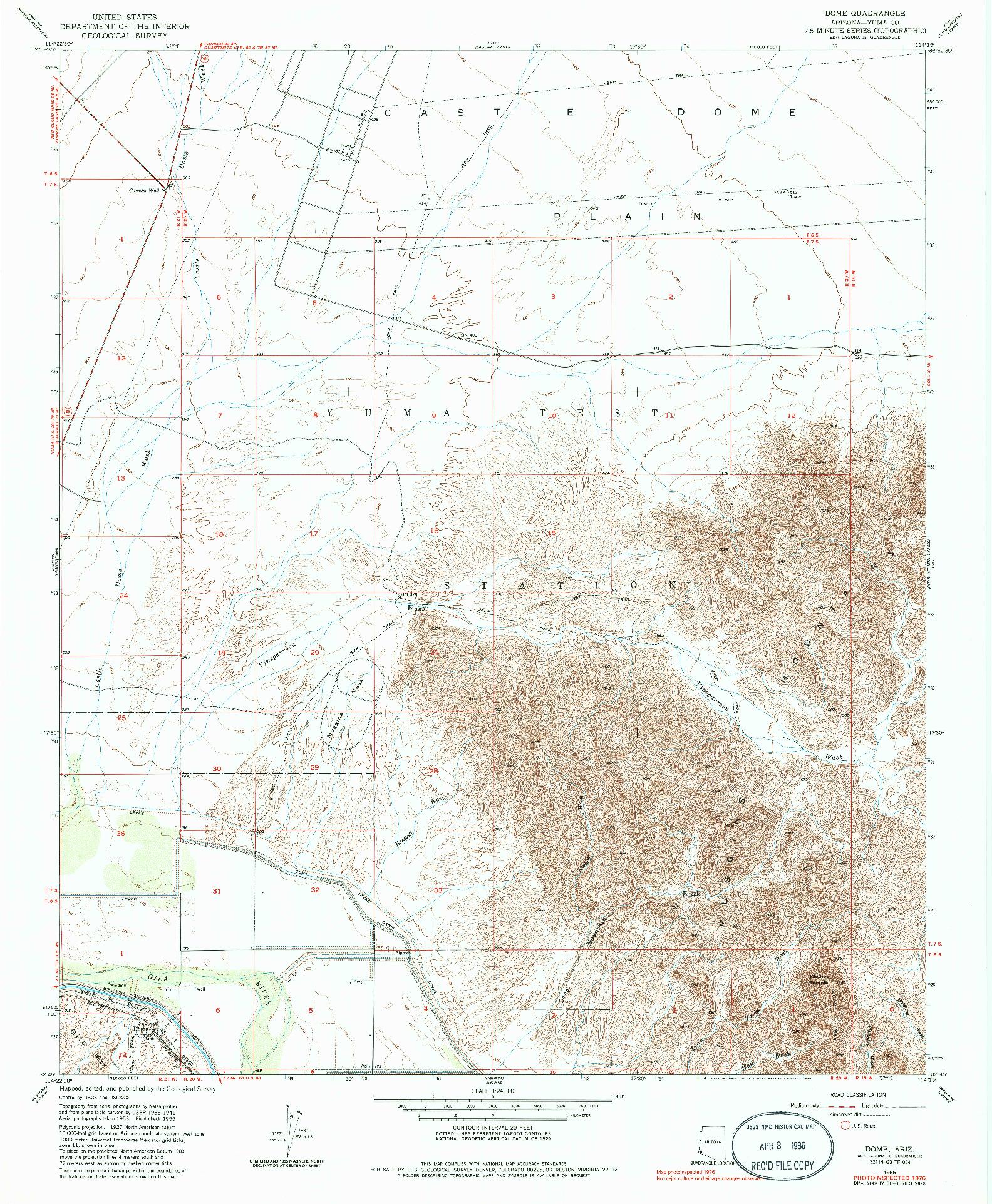 USGS 1:24000-SCALE QUADRANGLE FOR DOME, AZ 1955