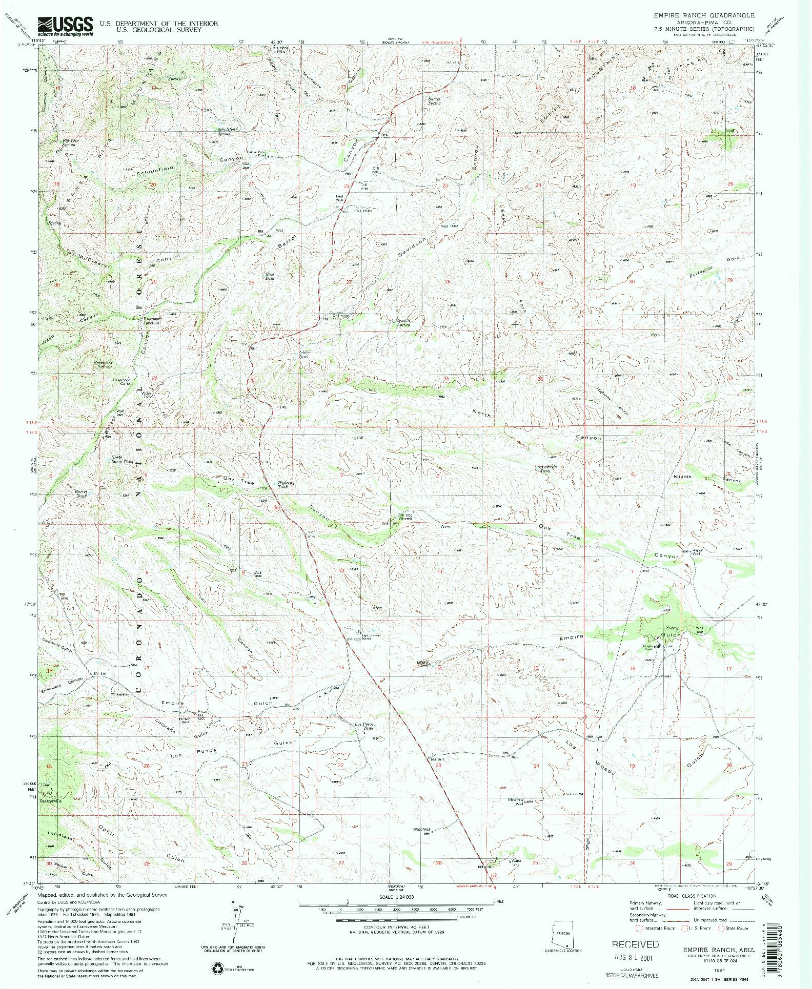 USGS 1:24000-SCALE QUADRANGLE FOR EMPIRE RANCH, AZ 1981